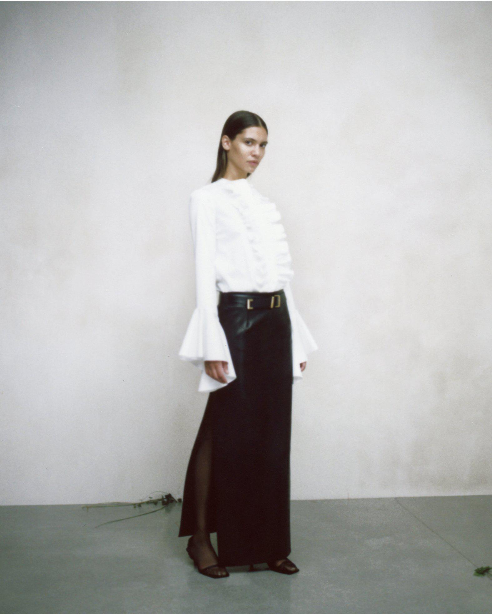 The Myla Skirt in Black Leather 6