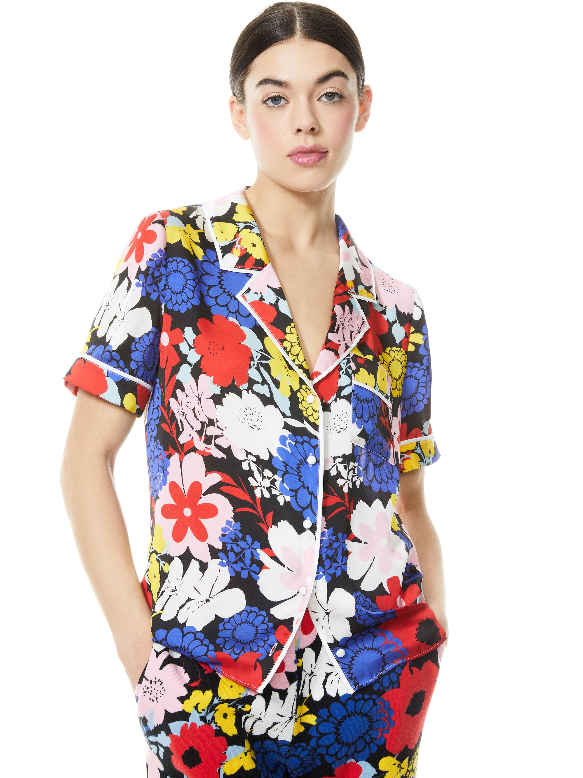 RAMONA PIPED BUTTON DOWN TOP