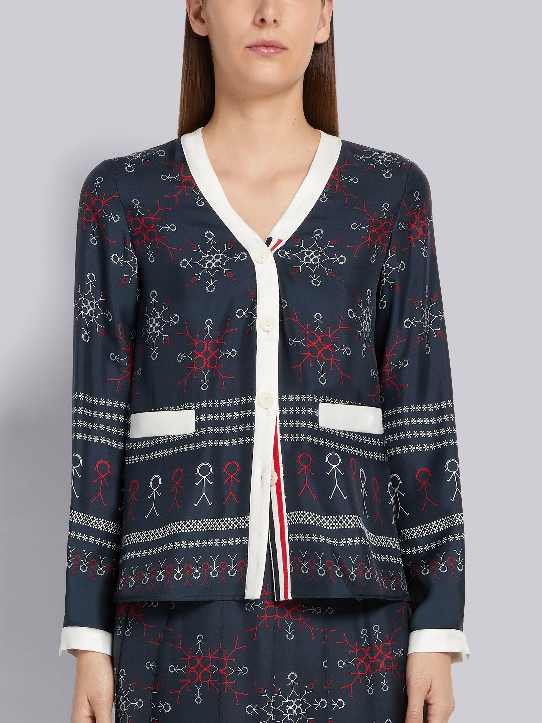 Multicolor Silk Twill Mrs. Thom Falling Snowflake Print Contrast Tipping V-Neck Cardigan Blouse