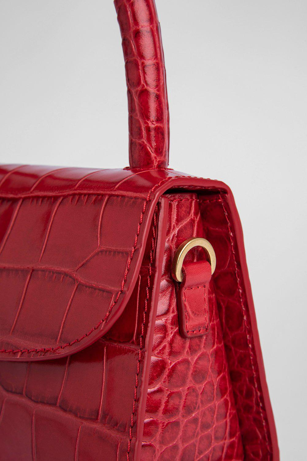 Mini Red Croco Embossed Leather 2