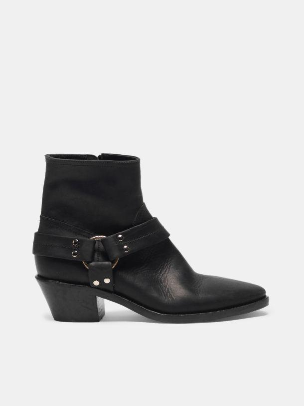 Bretagne ankle boots in leather with ankle buckle