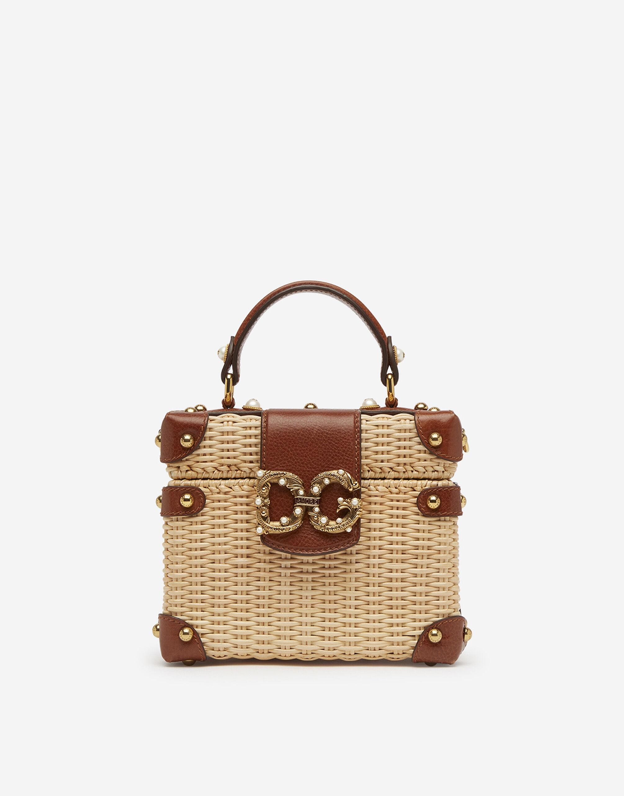 DG Amore box bag in wicker and cowhide