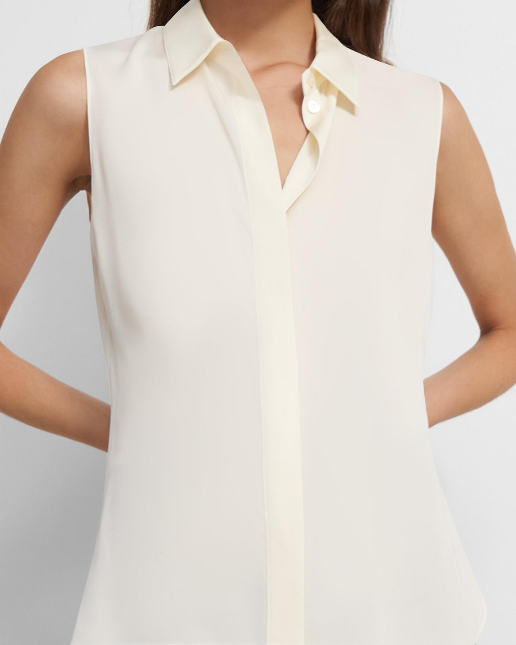 Fitted Sleeveless Shirt in Stretch Silk 2