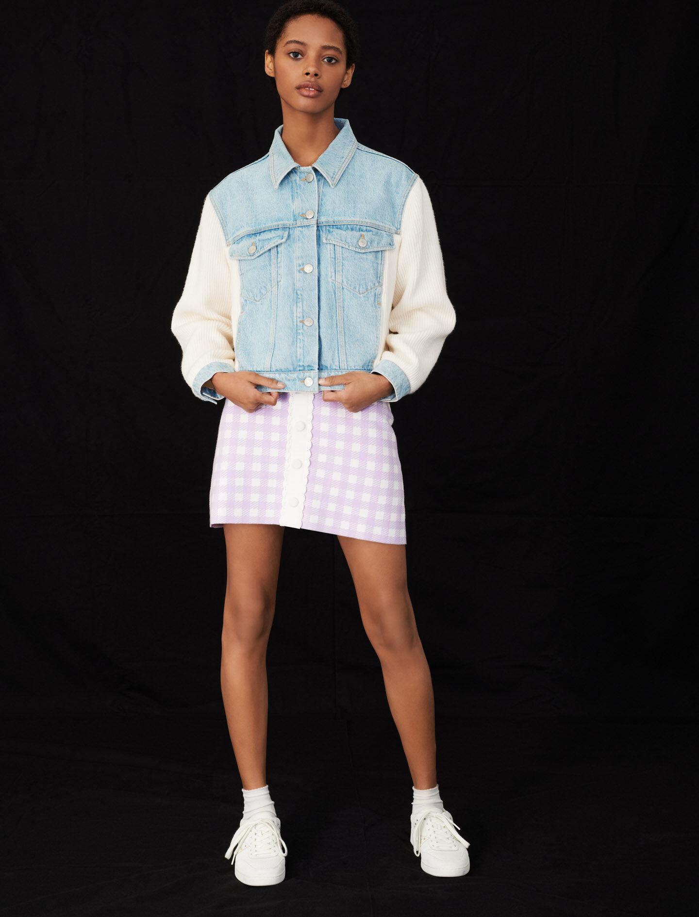 MIXED MATERIAL KNIT AND DENIM JACKET 2