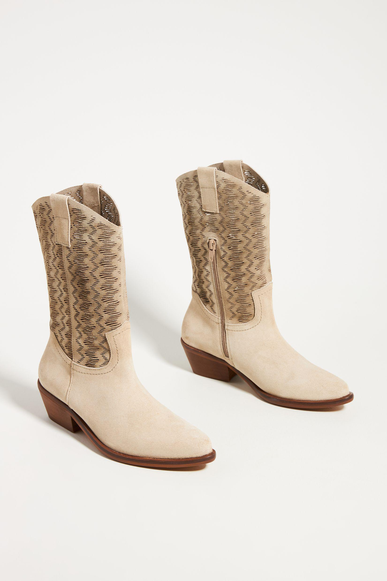 Cut-Out Suede Western Boots 1