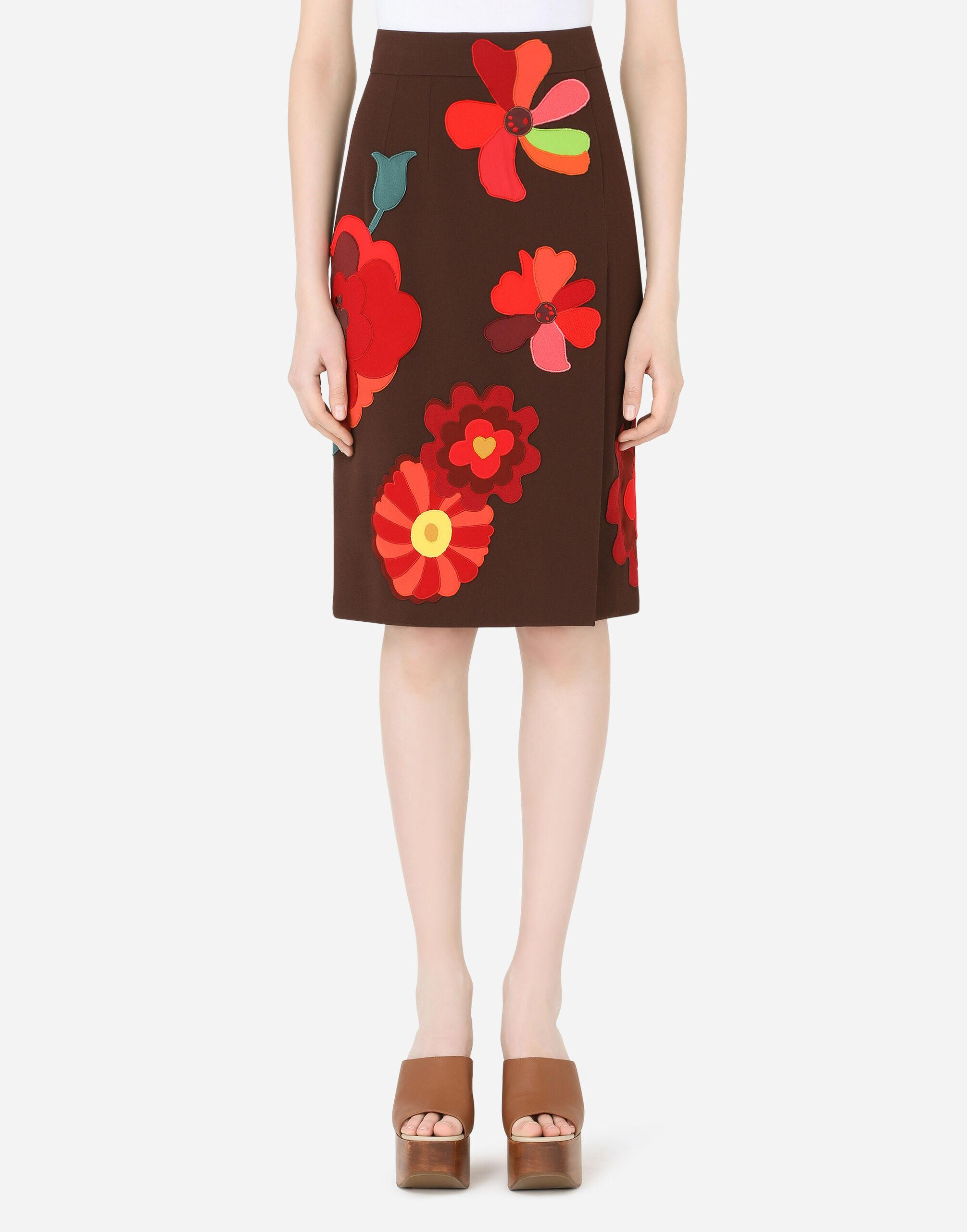 Cady midi skirt with floral patches and slit