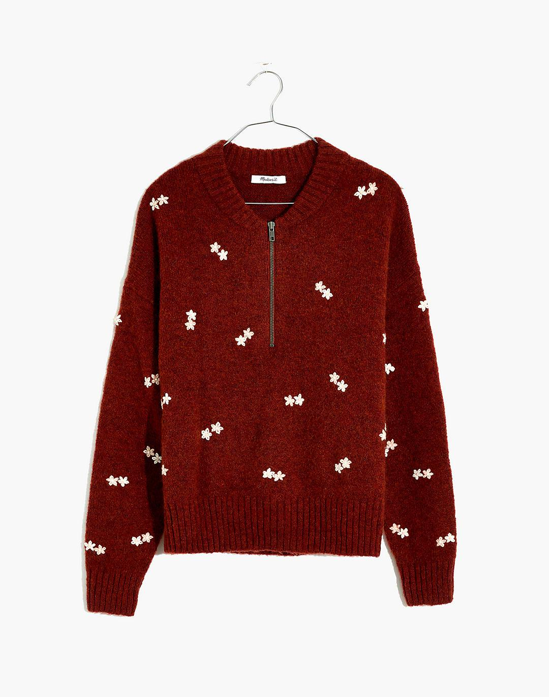 Plus Embroidered Enfield Half-Zip Sweater
