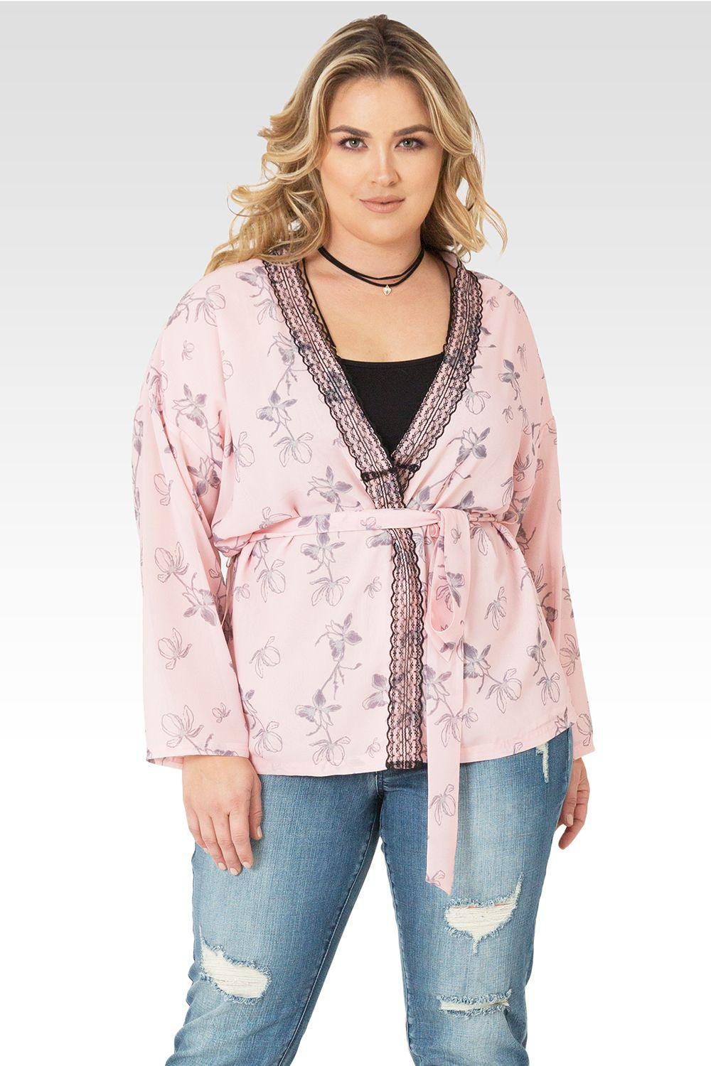 Plus Size Irna Floral Print Belted Kimono Cardigan Cover Up - Light Pink