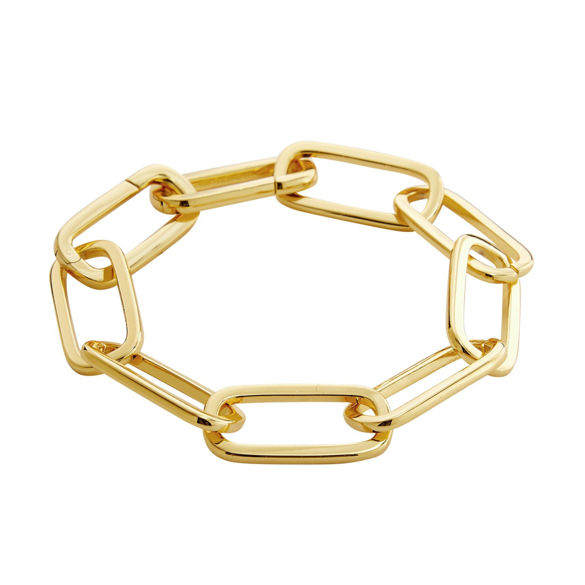 Grande Solid Sterling Paperclip Chain Bracelet in Gold