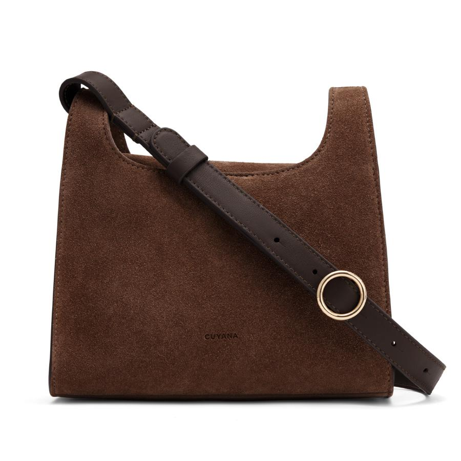 Women's Mini Double Loop Bag in Chocolate | Suede & Smooth Leather by Cuyana