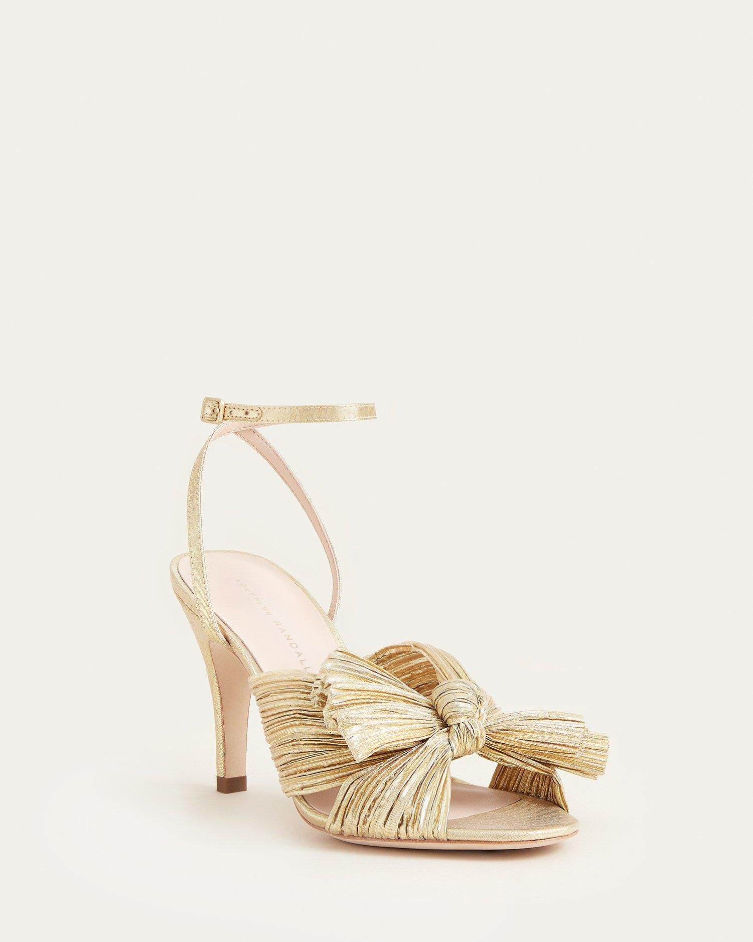 Zinnia Bow Ankle Strap Heel Gold