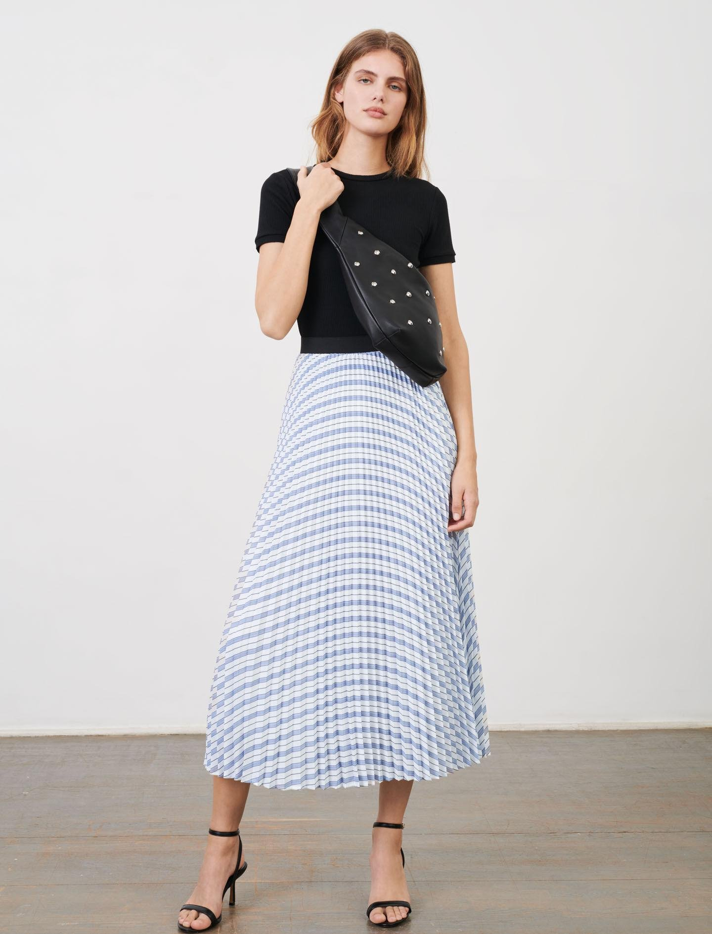 STRIPED AND PLEATED ELASTICATED SKIRT