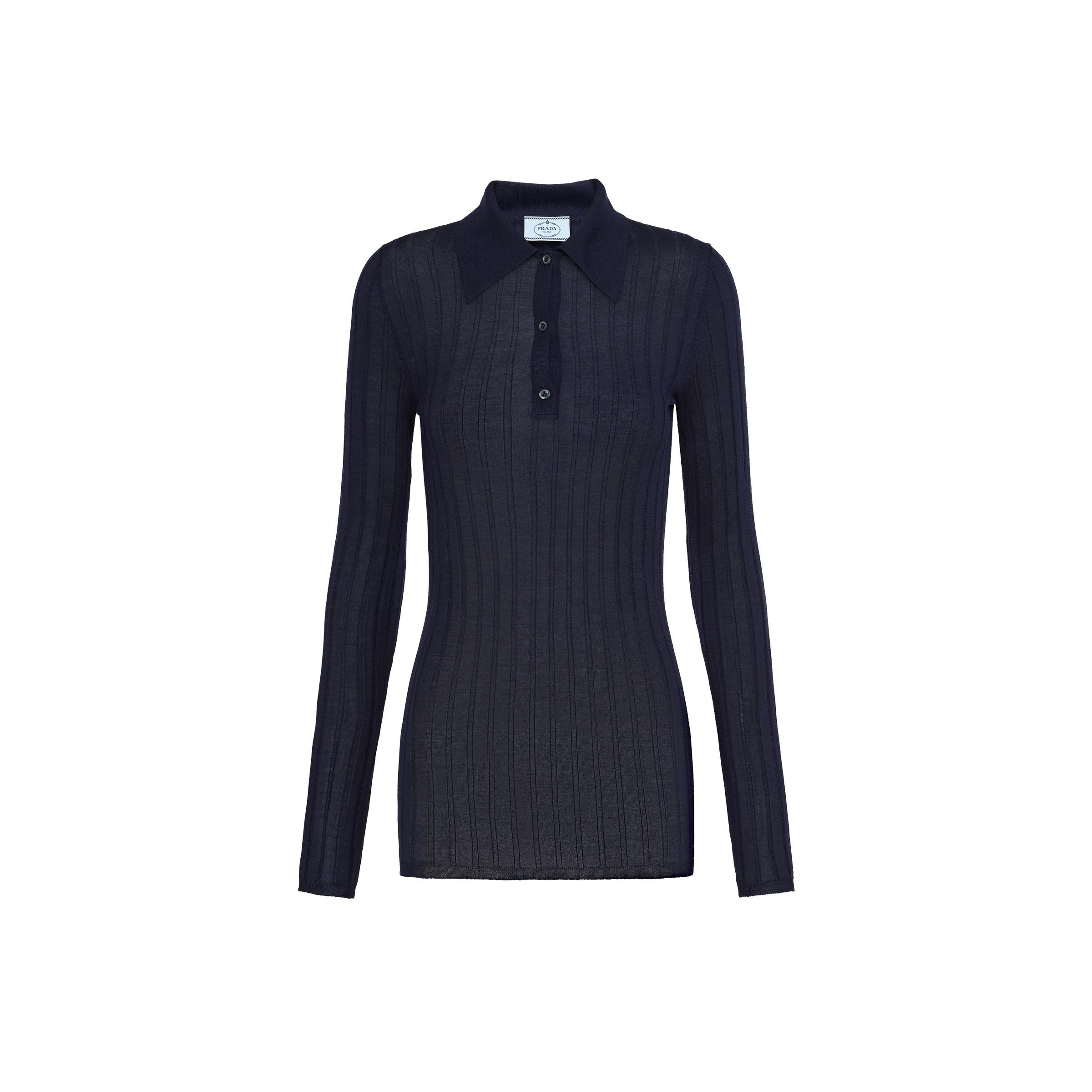 Cashmere And Silk Polo Shirt Women Navy
