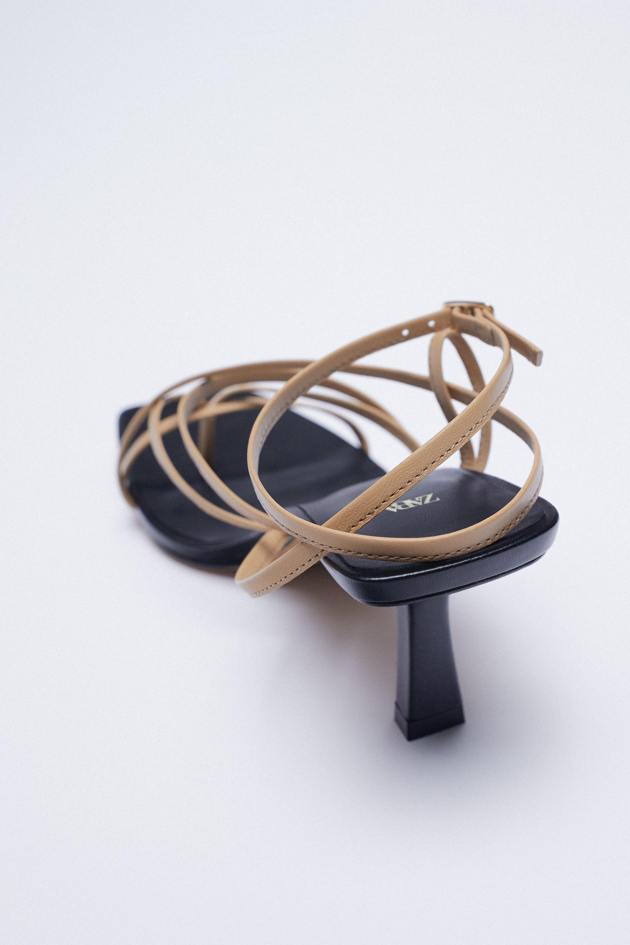 LEATHER HIGH HEELED STRAPPY SANDALS 3