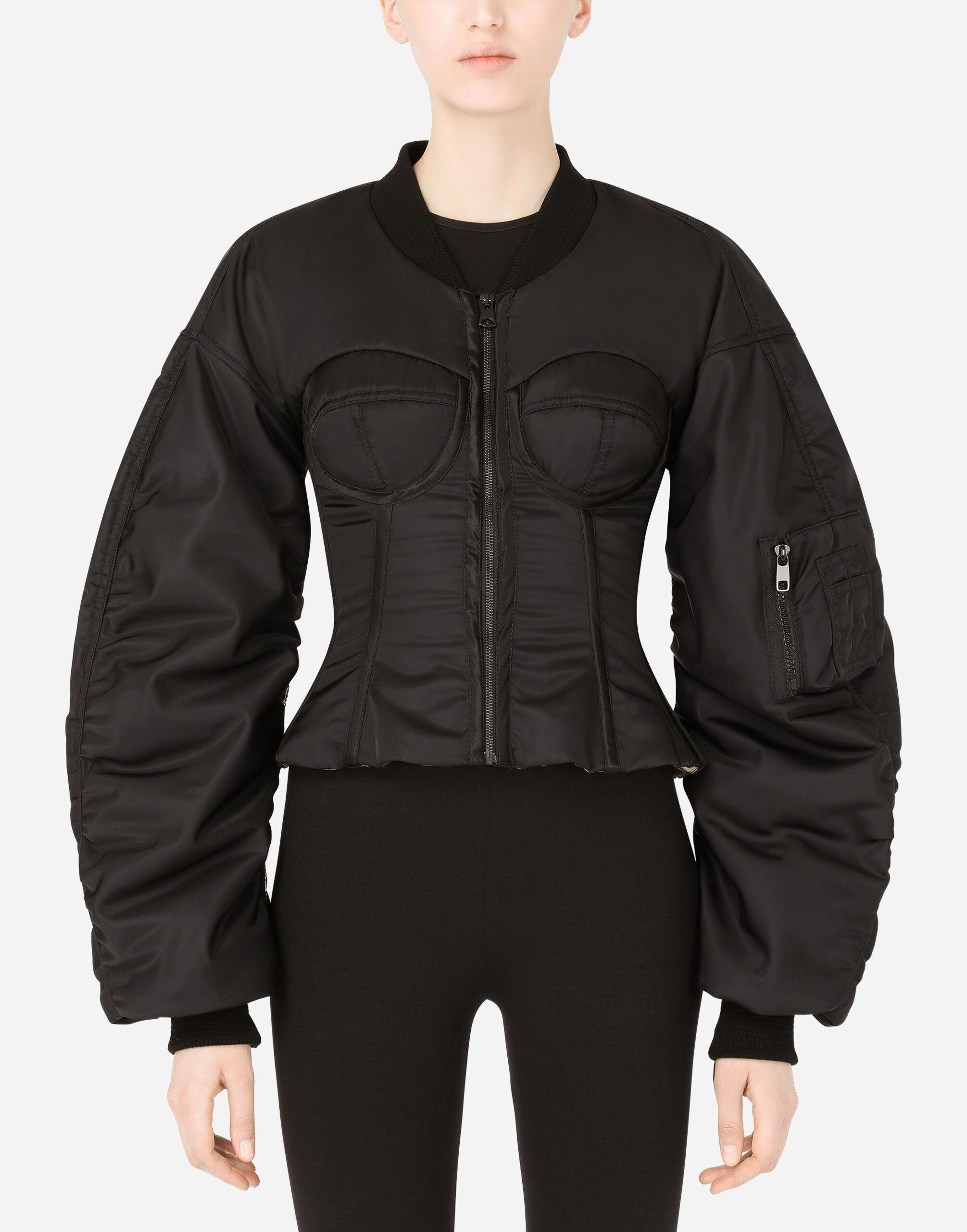 Nylon bomber jacket with bustier details
