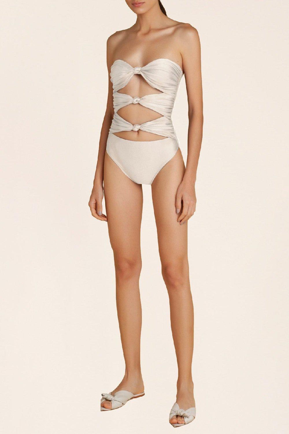 Solid Strapless Swimsuit With Triple Knot