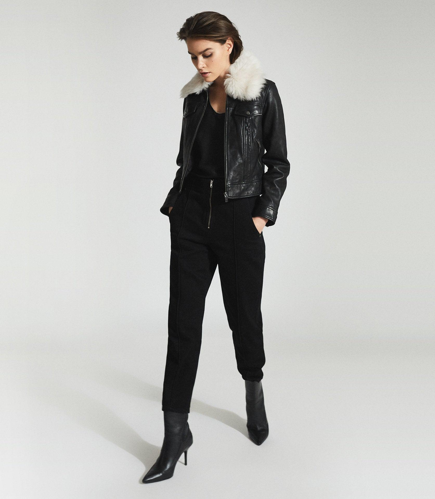 SHELLIE - LEATHER JACKET WITH SHEARING COLLAR 0