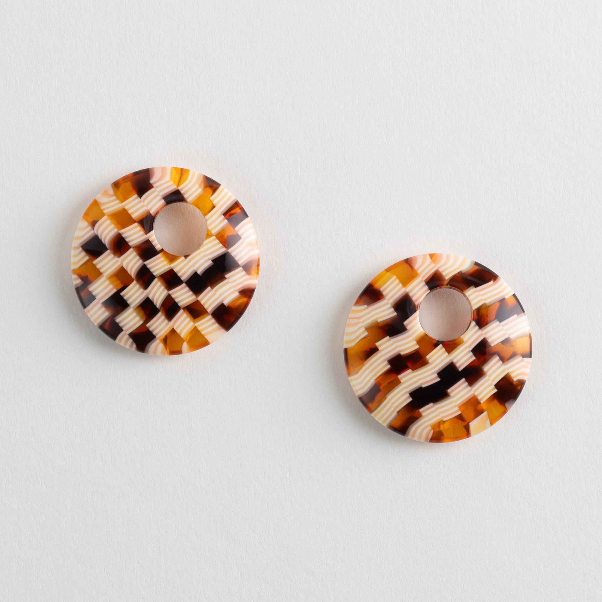 Disc Charms in Tortoise Checker
