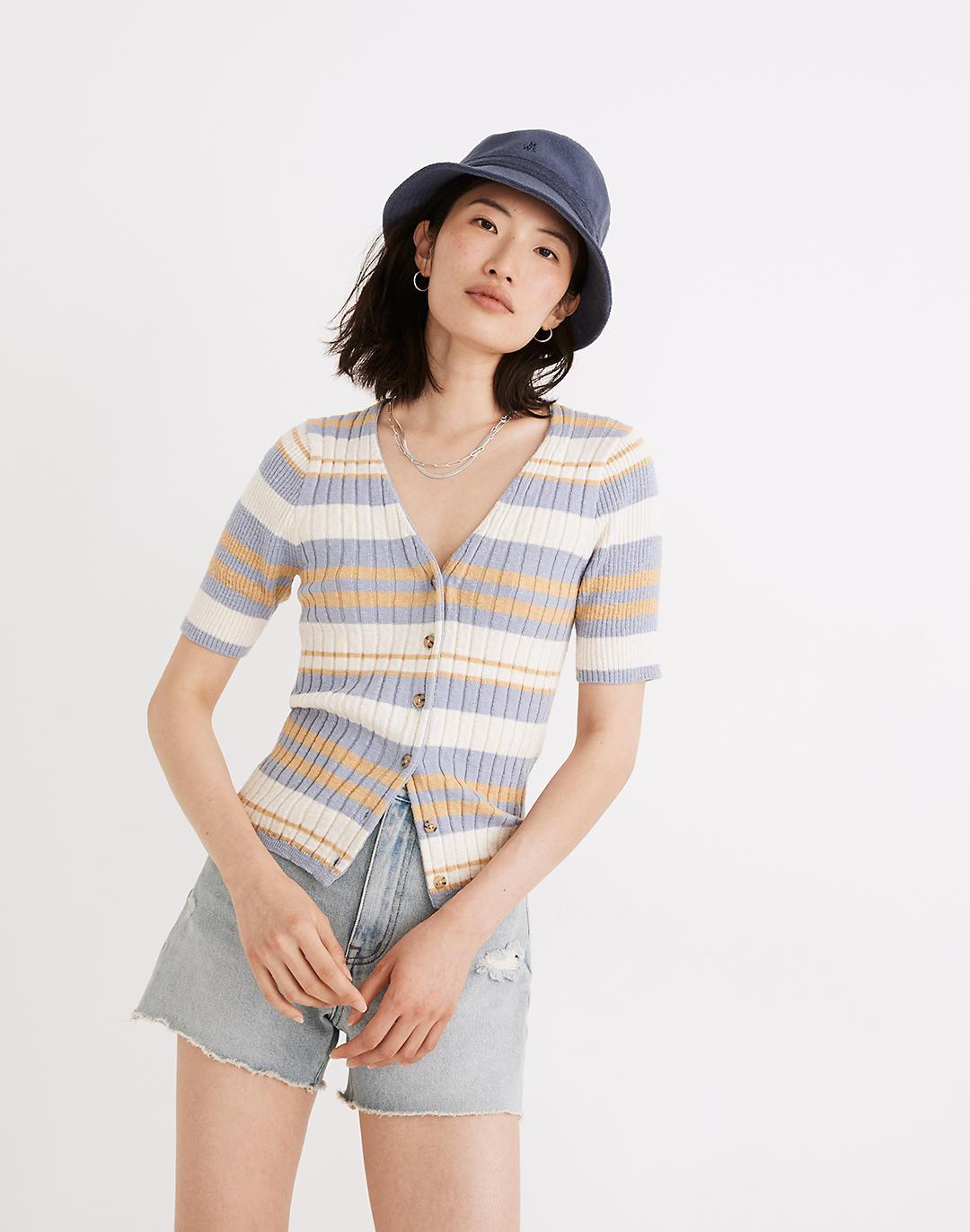 Glencrest Button-Front Sweater Tee in Stripe