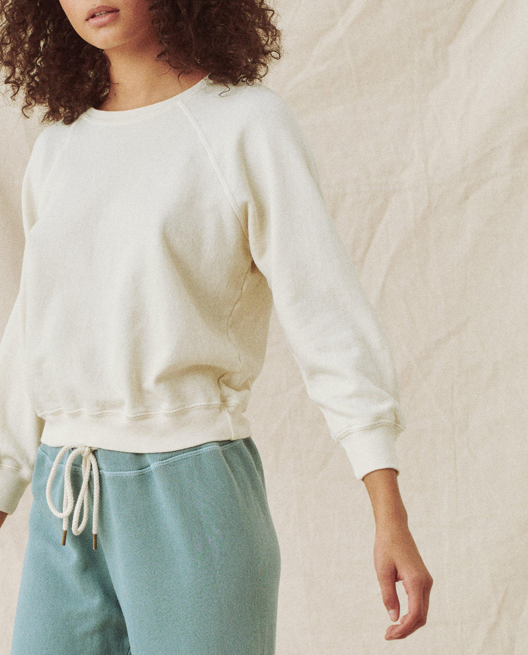 The Shrunken Sweatshirt and The Wide Leg Cropped Sweatpant Set. -- Washed White 0