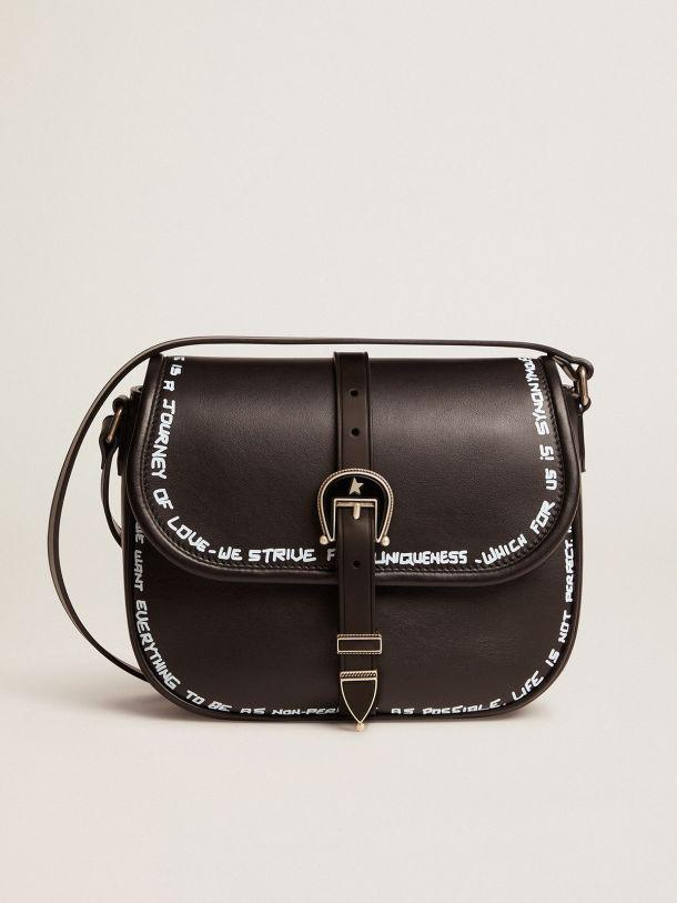 Medium black leather Rodeo Bag with screen print
