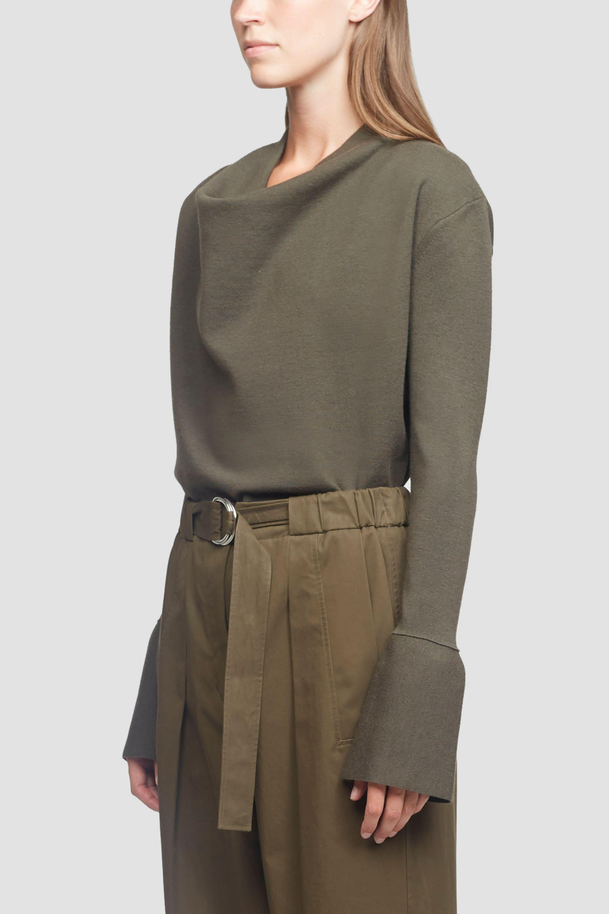 Cowl Neck Military Ribbed Sweater 1