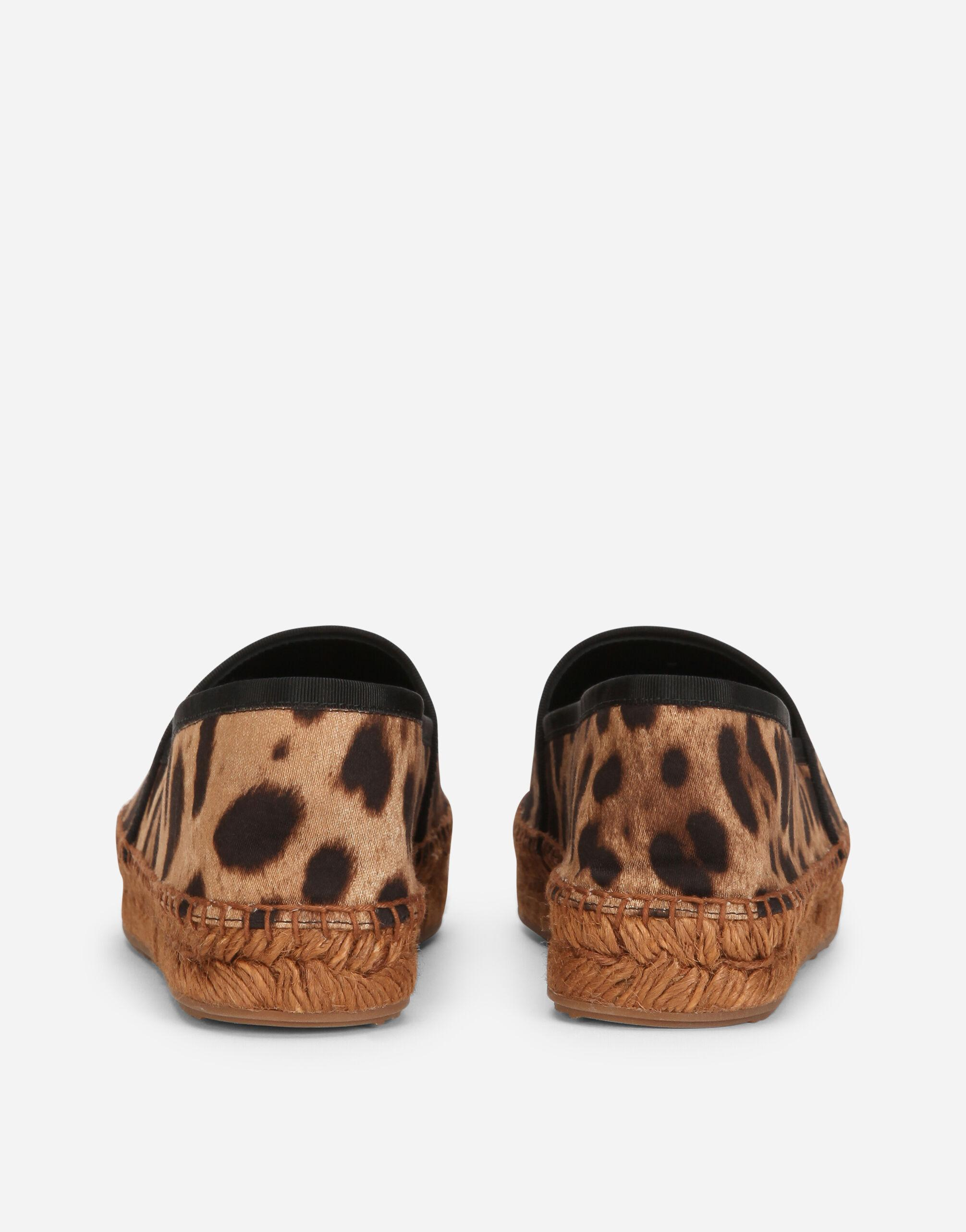 Leopard-print cotton espadrilles with branded plate 2