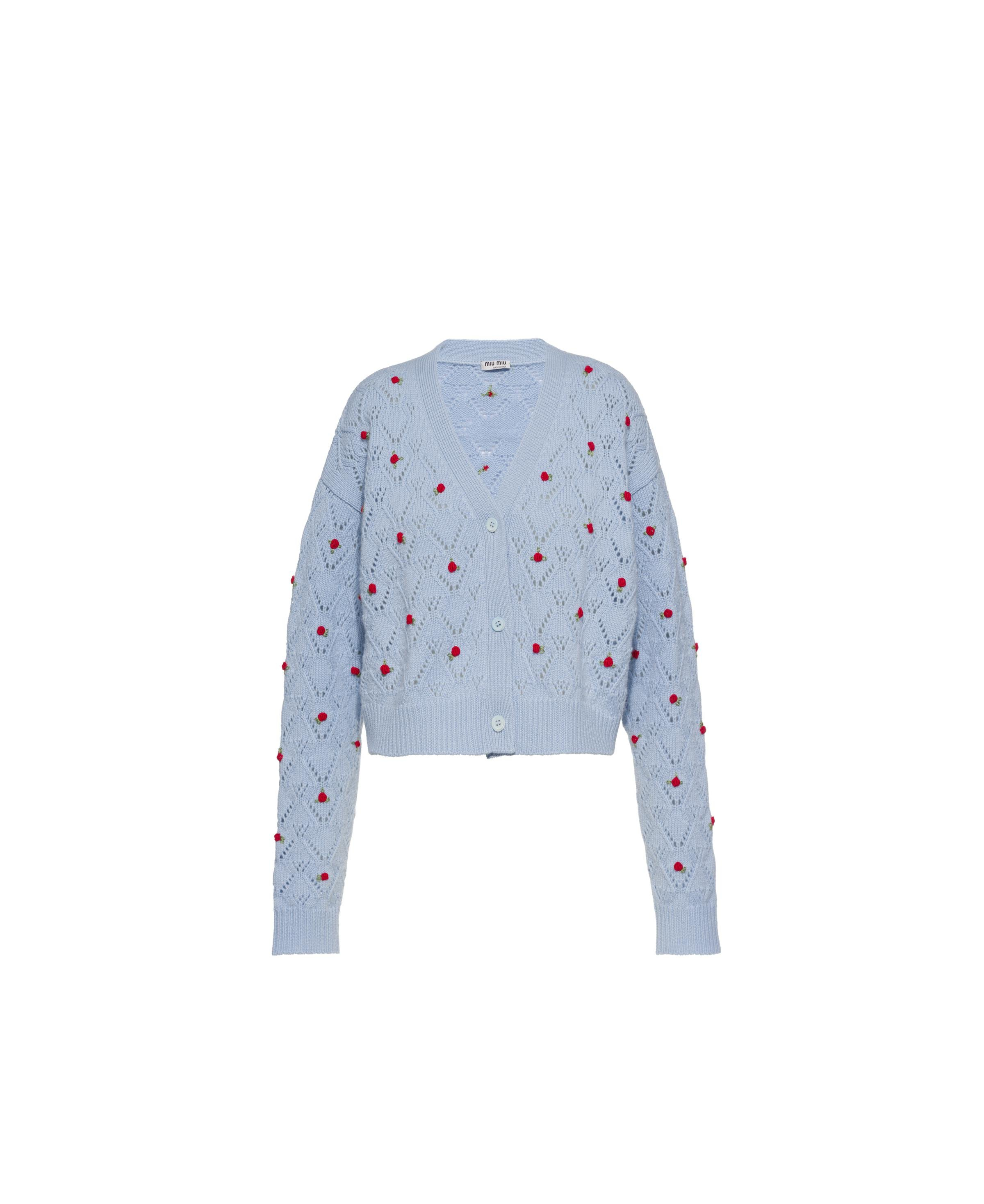 Embroidered Cashmere Cardigan Women Navy