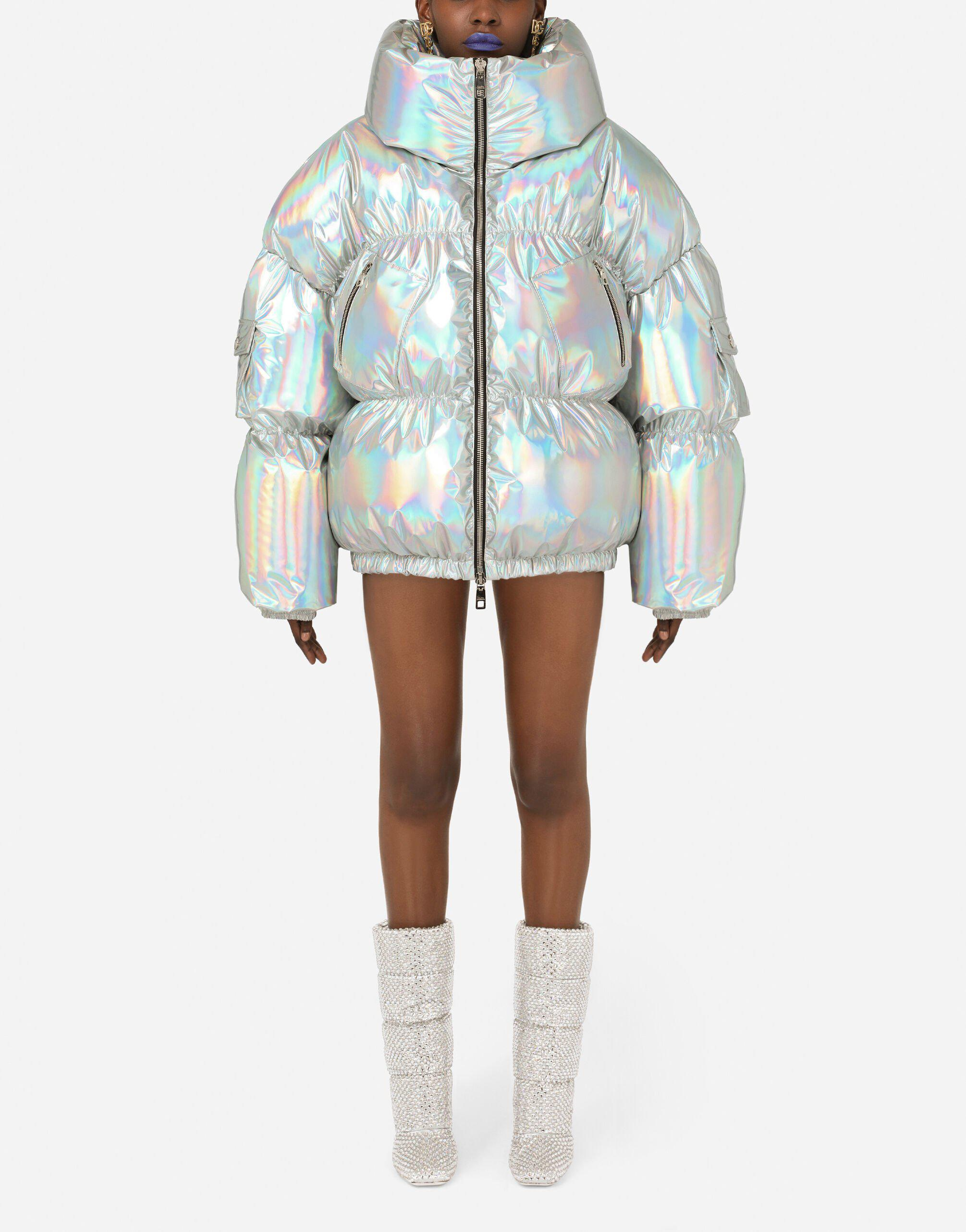 Holographic-effect technical nylon down jacket