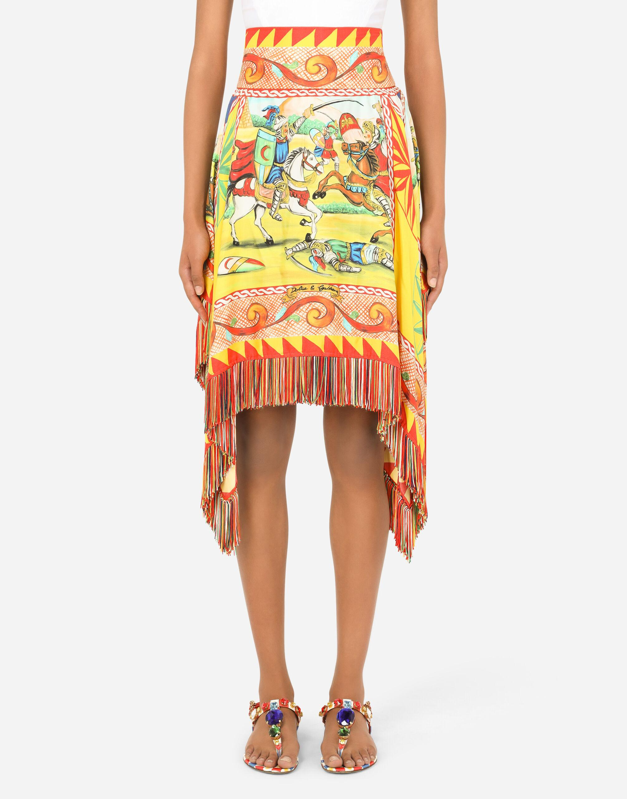 Short Carretto-print twill skirt with fringing