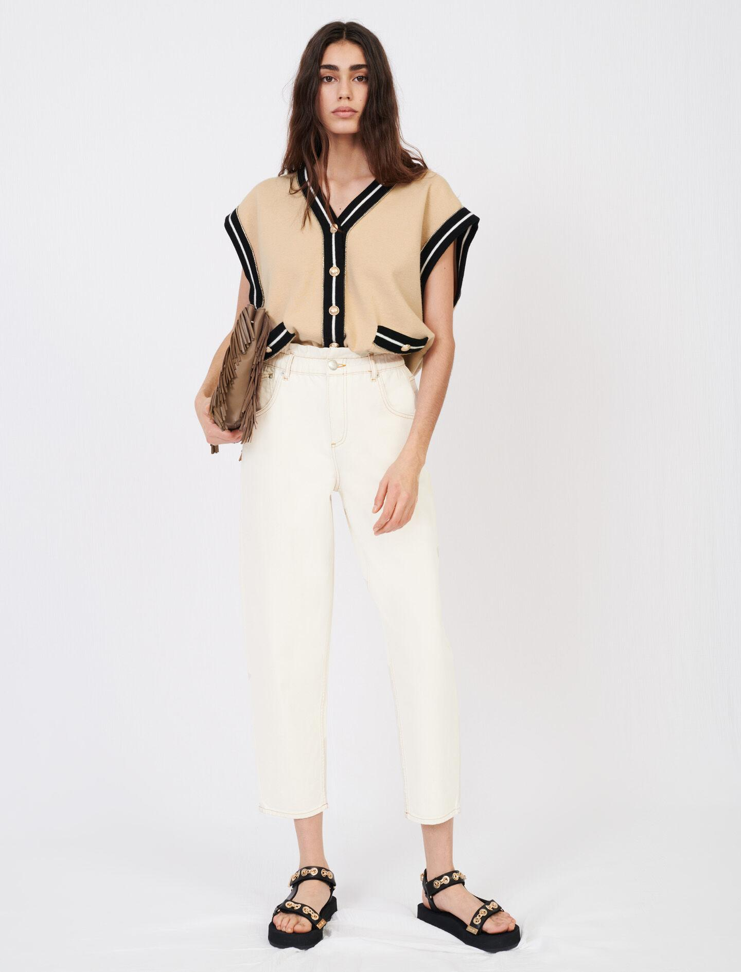SLEEVELESS CARDIGAN WITH CONTRAST BANDS