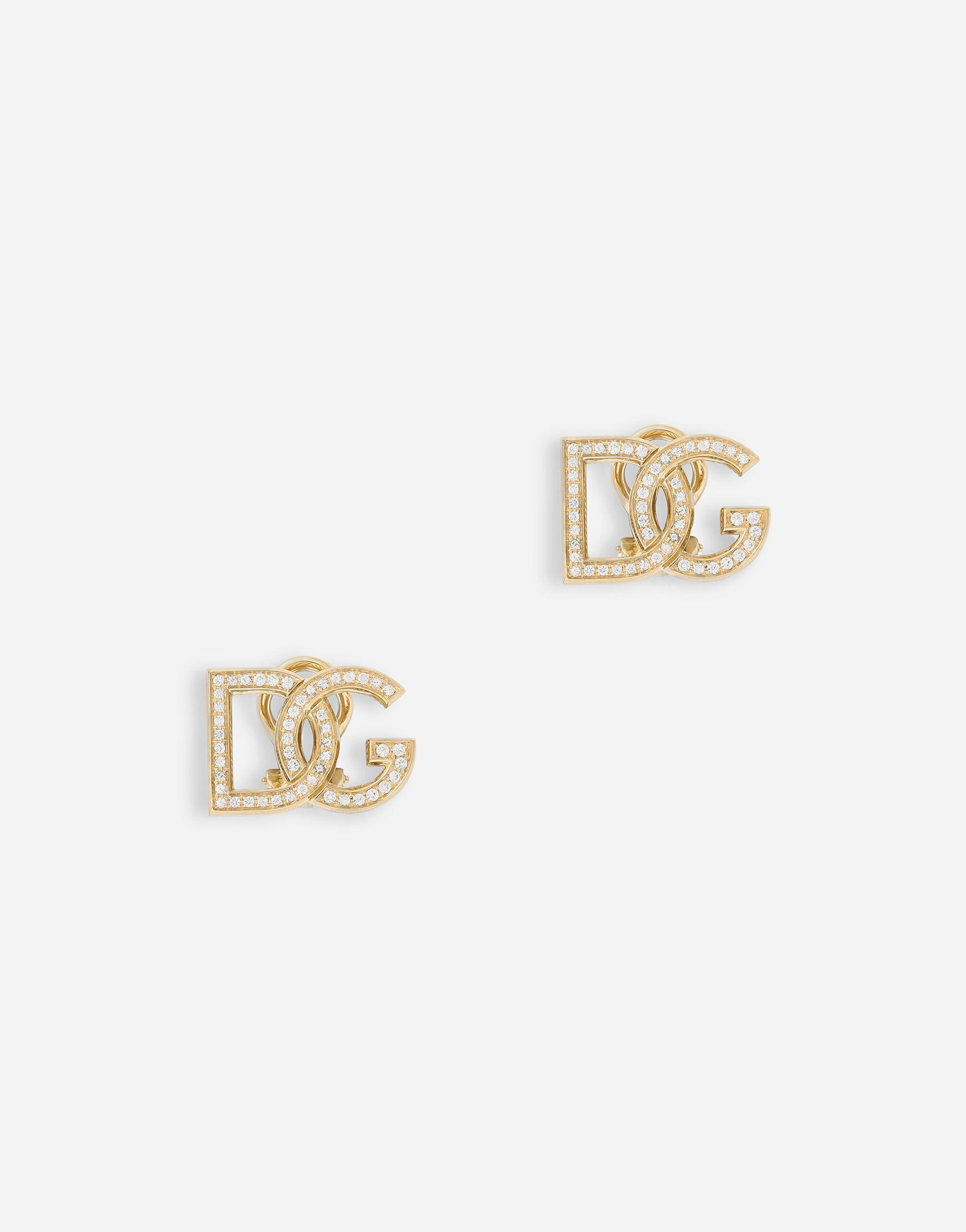 Logo clip-on earrings in yellow 18kt gold with colourless sapphires