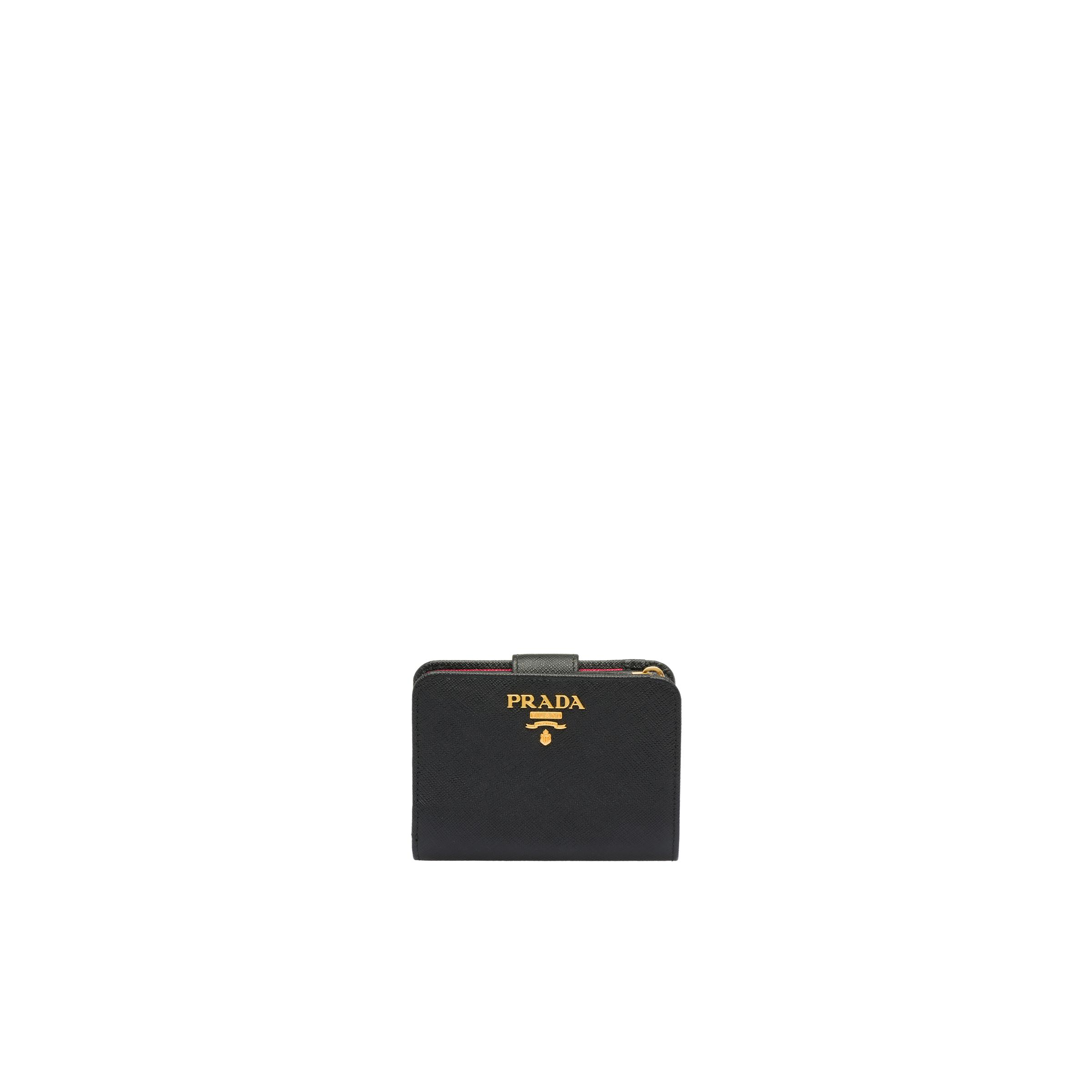 Small Saffiano Leather Wallet Women Black/hibiscus