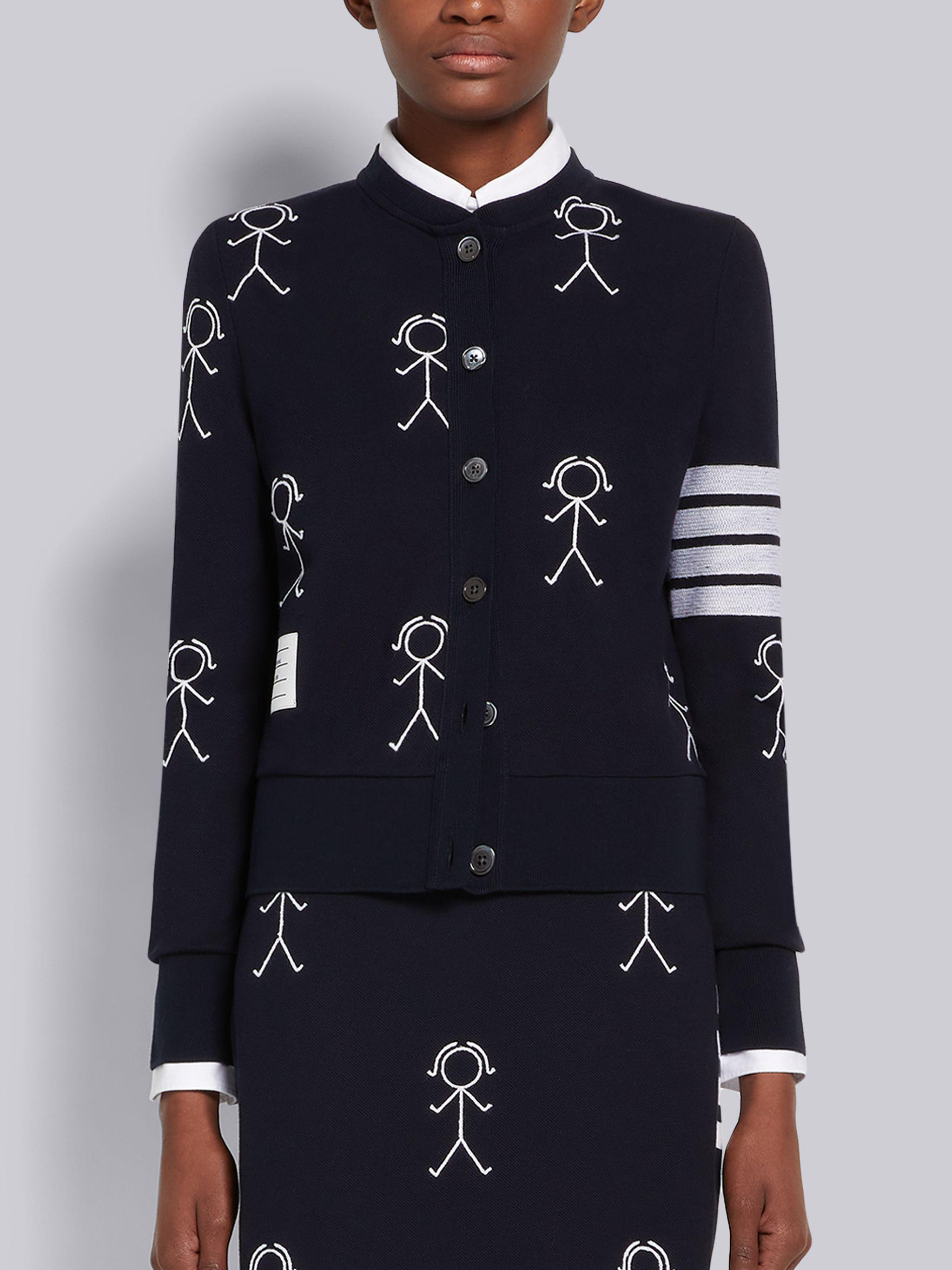 Navy Classic Pique Chain Stitch 4-Bar & Mrs. Thom Embroidery Crew Neck Cardigan