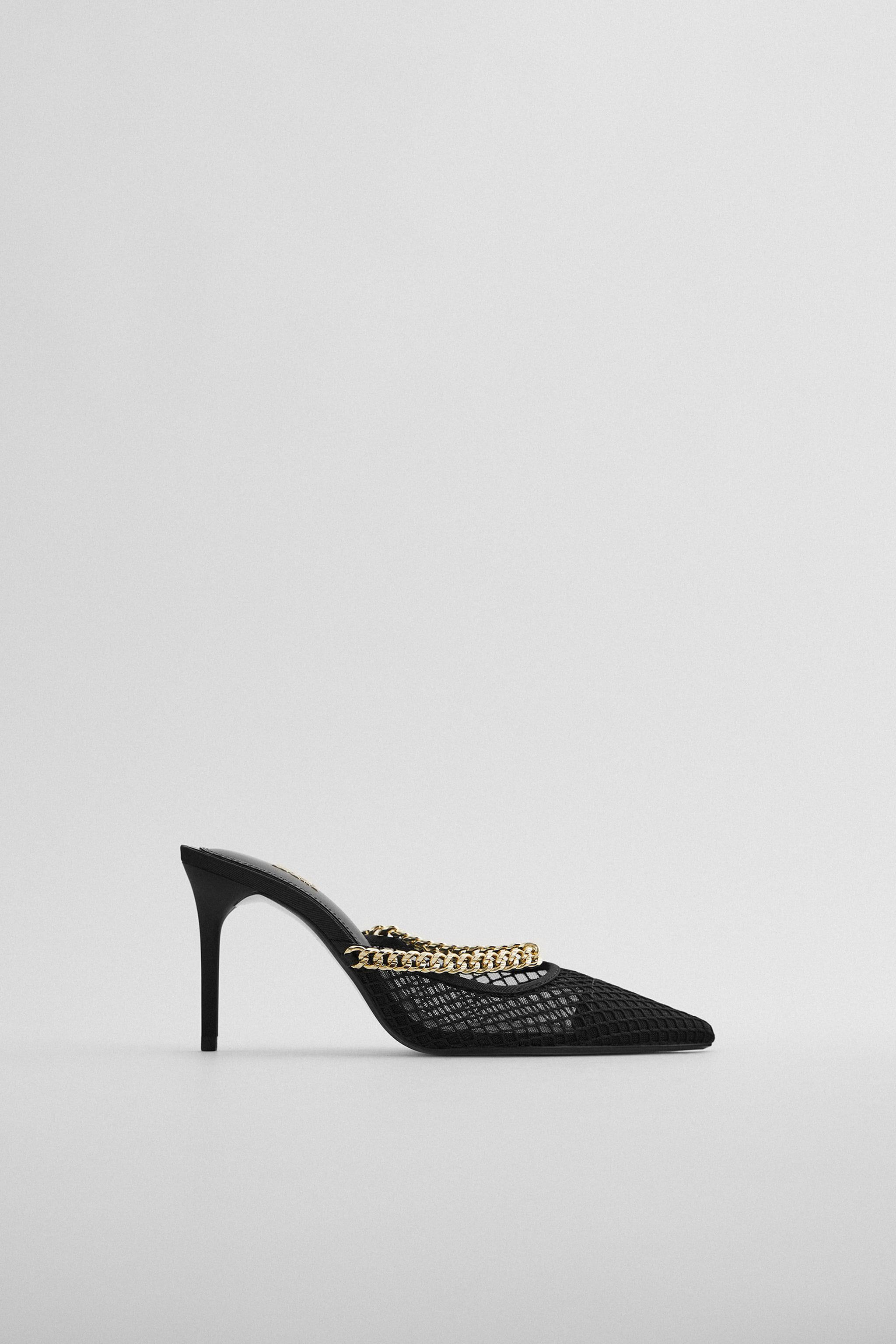 MESH HEELS WITH CHAIN STRAP