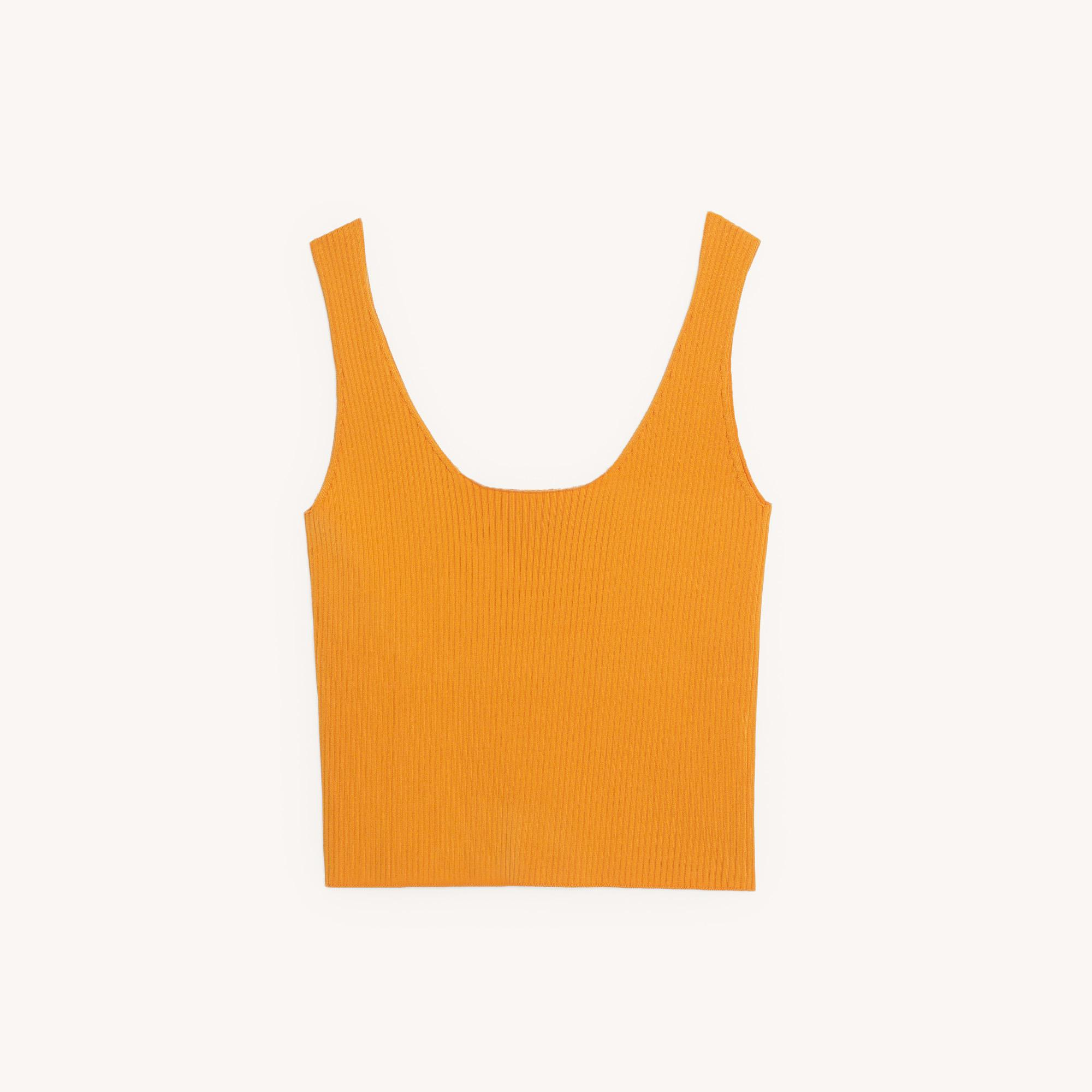 Ribbed knit cropped vest top