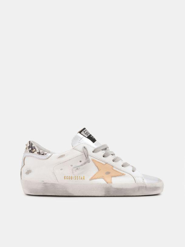White Super-Star sneakers with python-print and rhinestone heel tab
