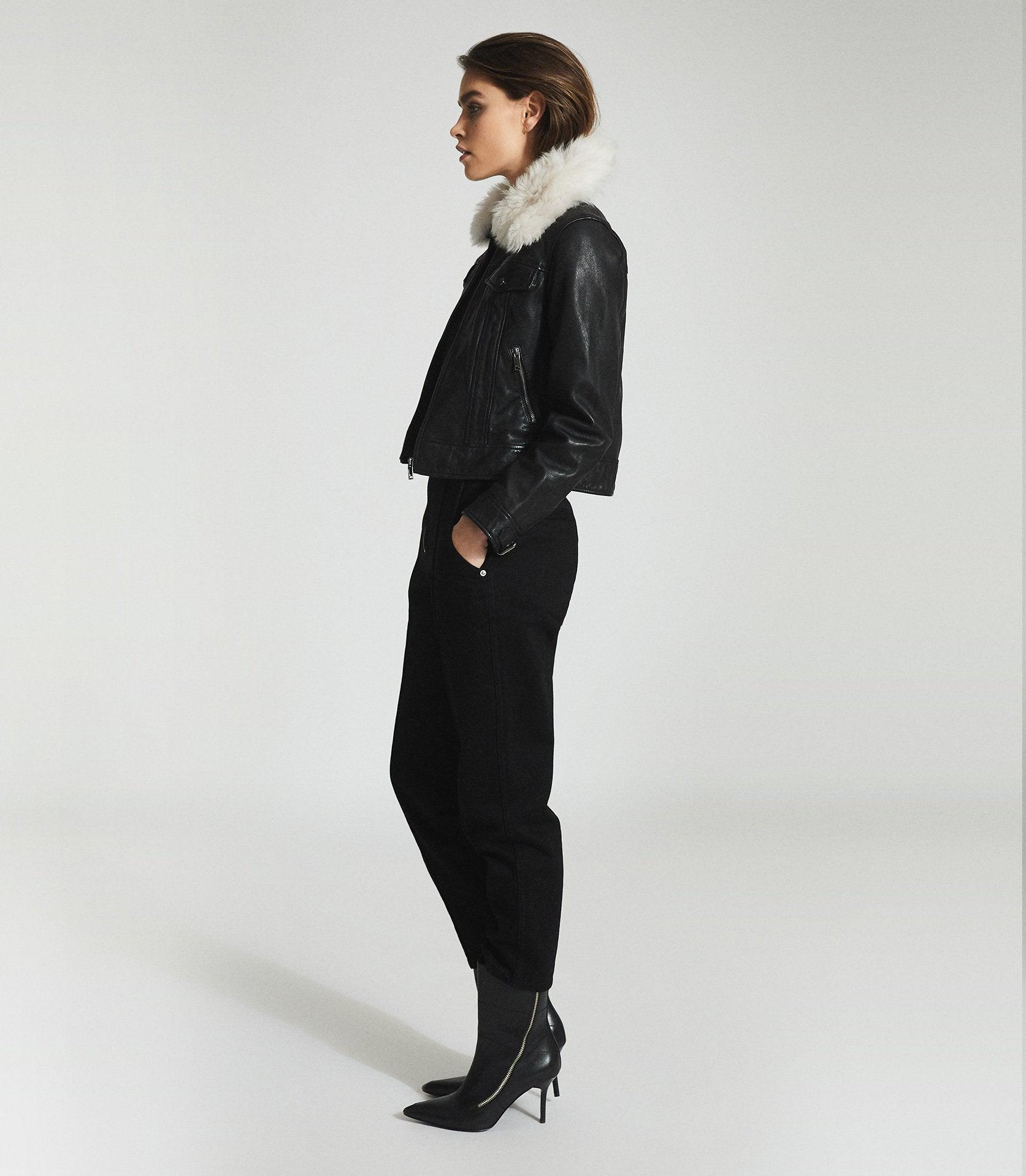 SHELLIE - LEATHER JACKET WITH SHEARING COLLAR 5