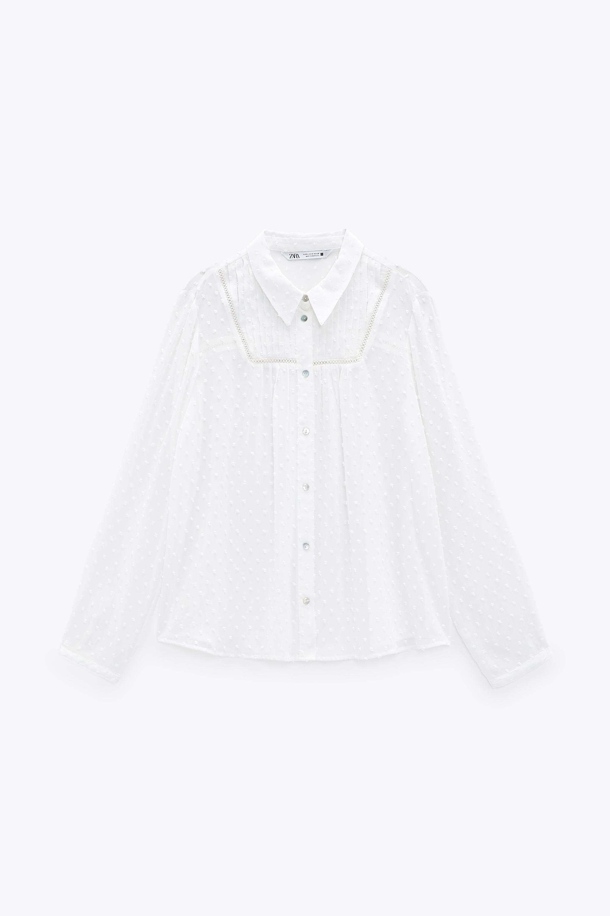 DOTTED MESH LACE INSERT SHIRT 4