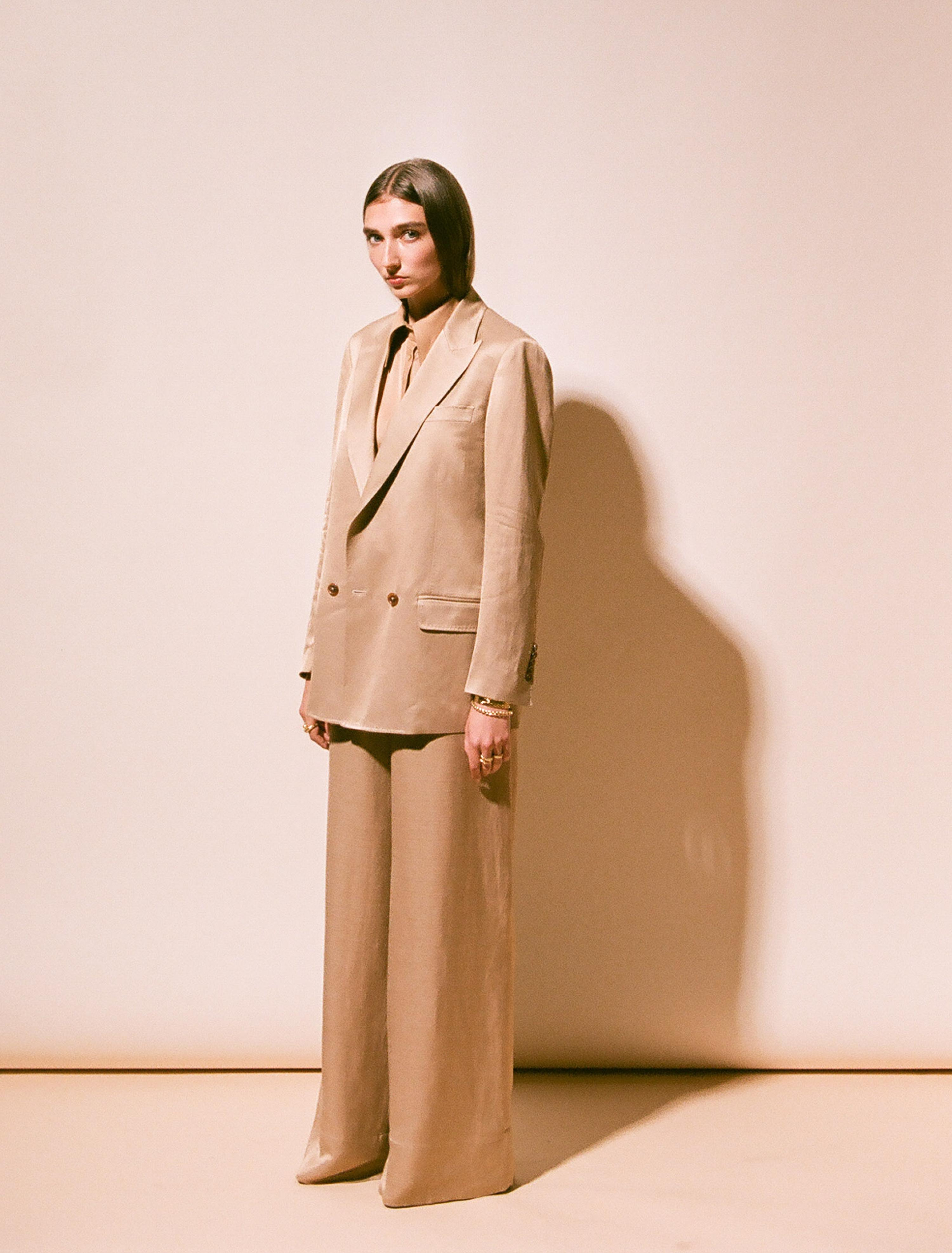 THE ALEK DOUBLE BREASTED TEXTURED LINEN VISCOSE BLAZER 1