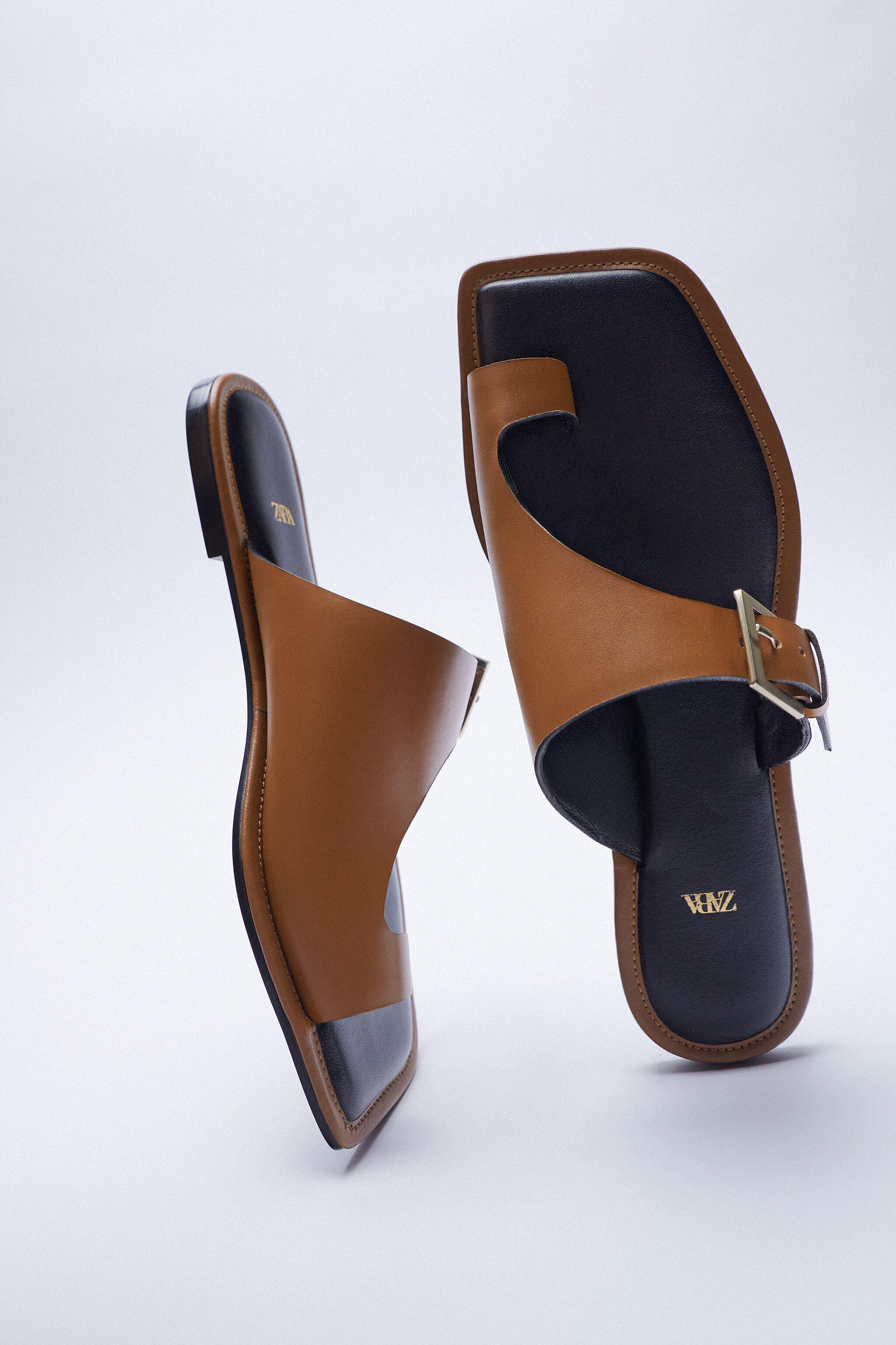 ASYMMETRICAL LEATHER SLIDE SANDALS WITH BUCKLE 10