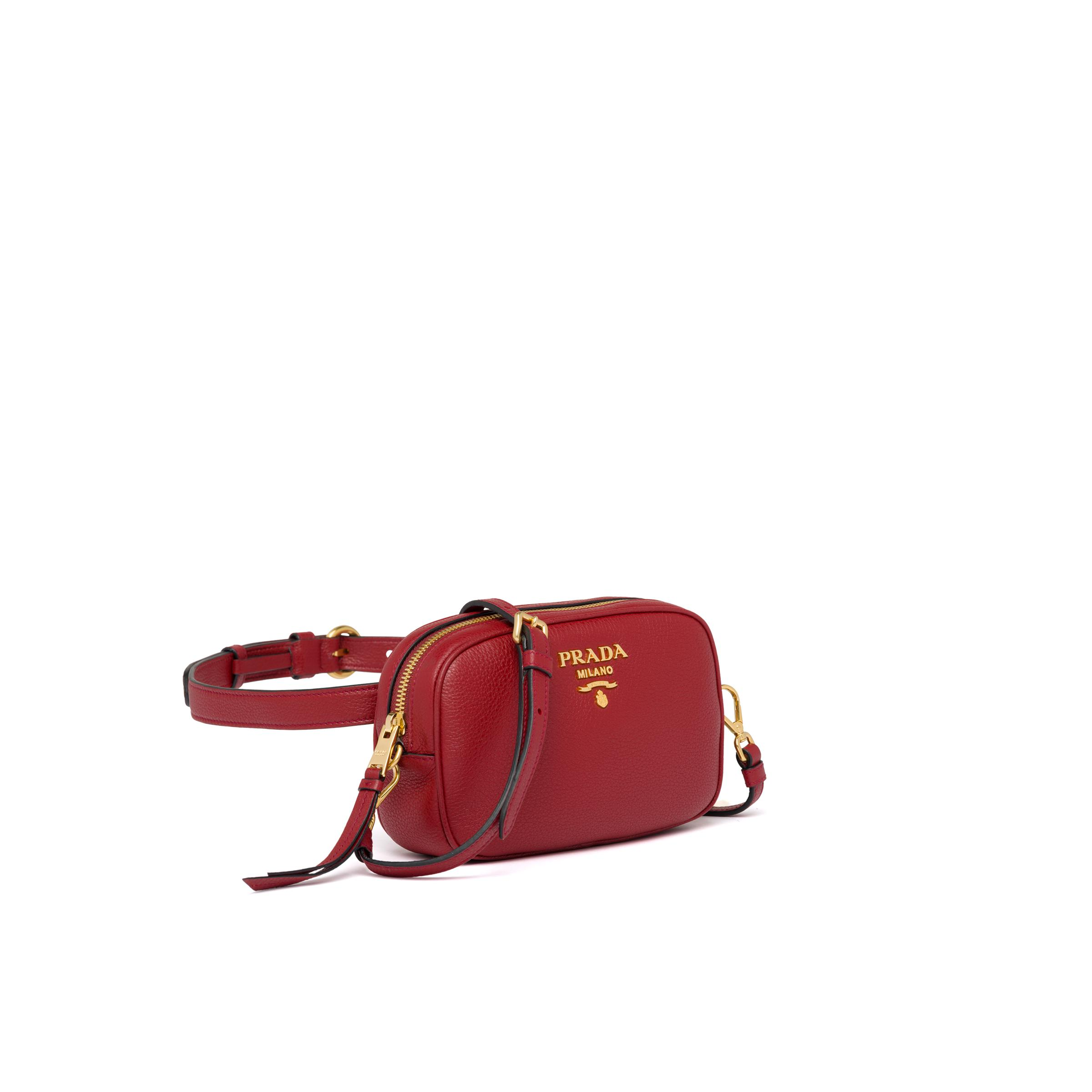 Leather Belt Bag Women Ruby Red 2