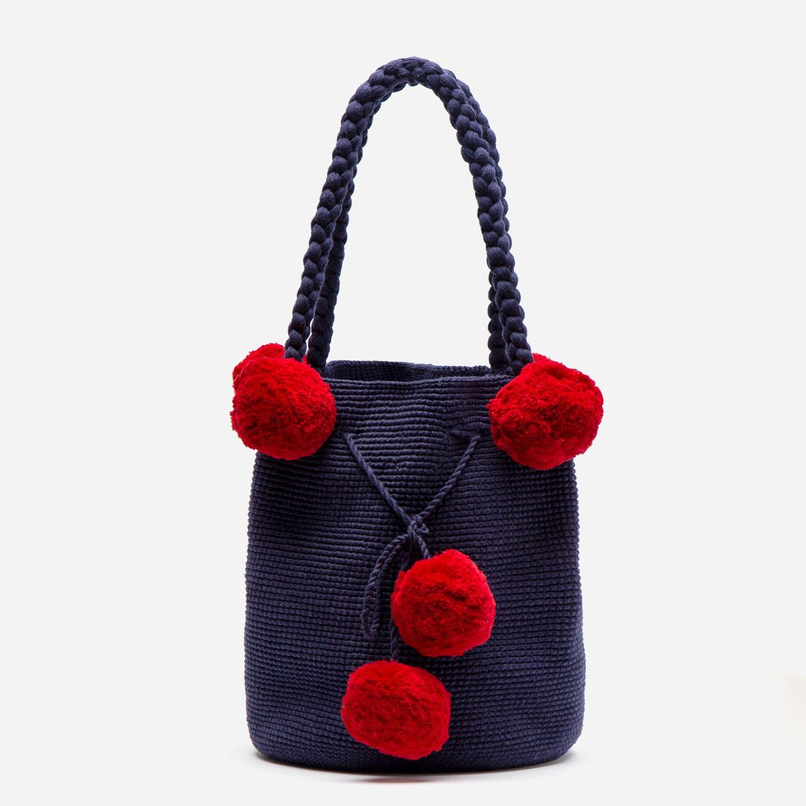 Haley Woven Bucket Navy Red