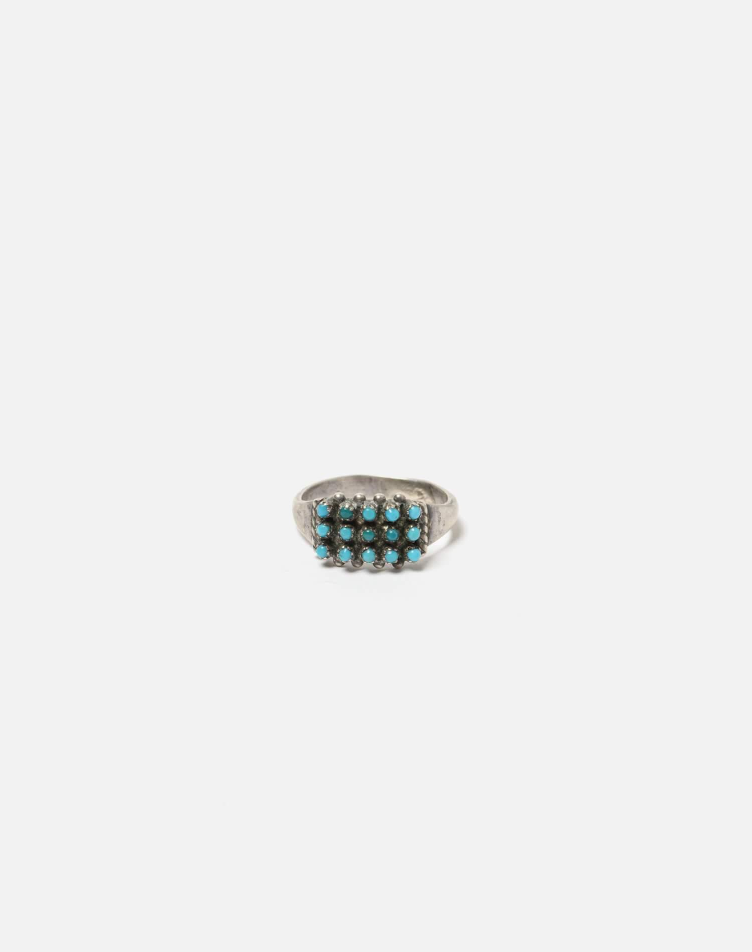 1940s Zuni Sterling And Round Turquoise Stone Ring - #97