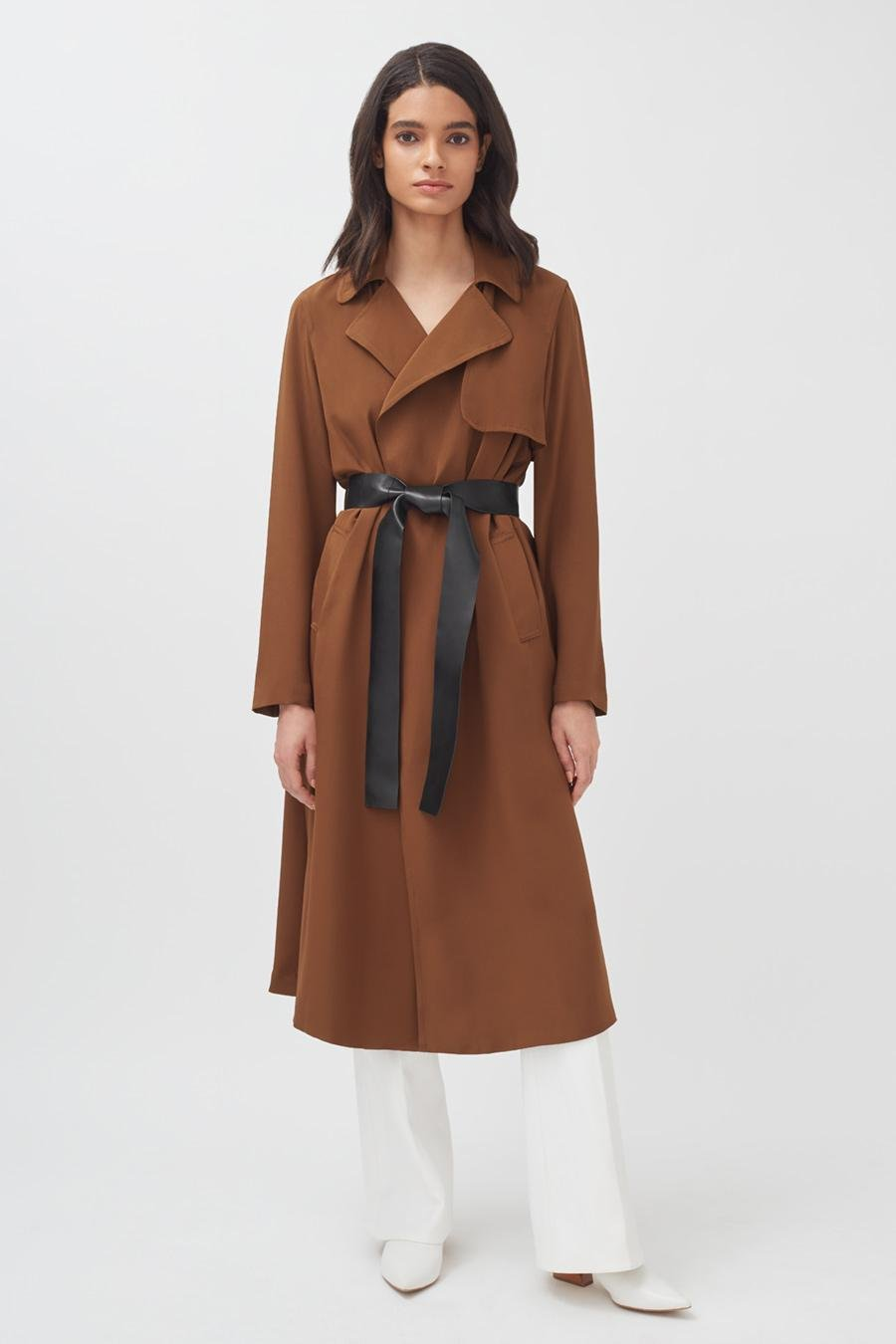 Women's Silk Classic Trench in Chestnut   Size: 1