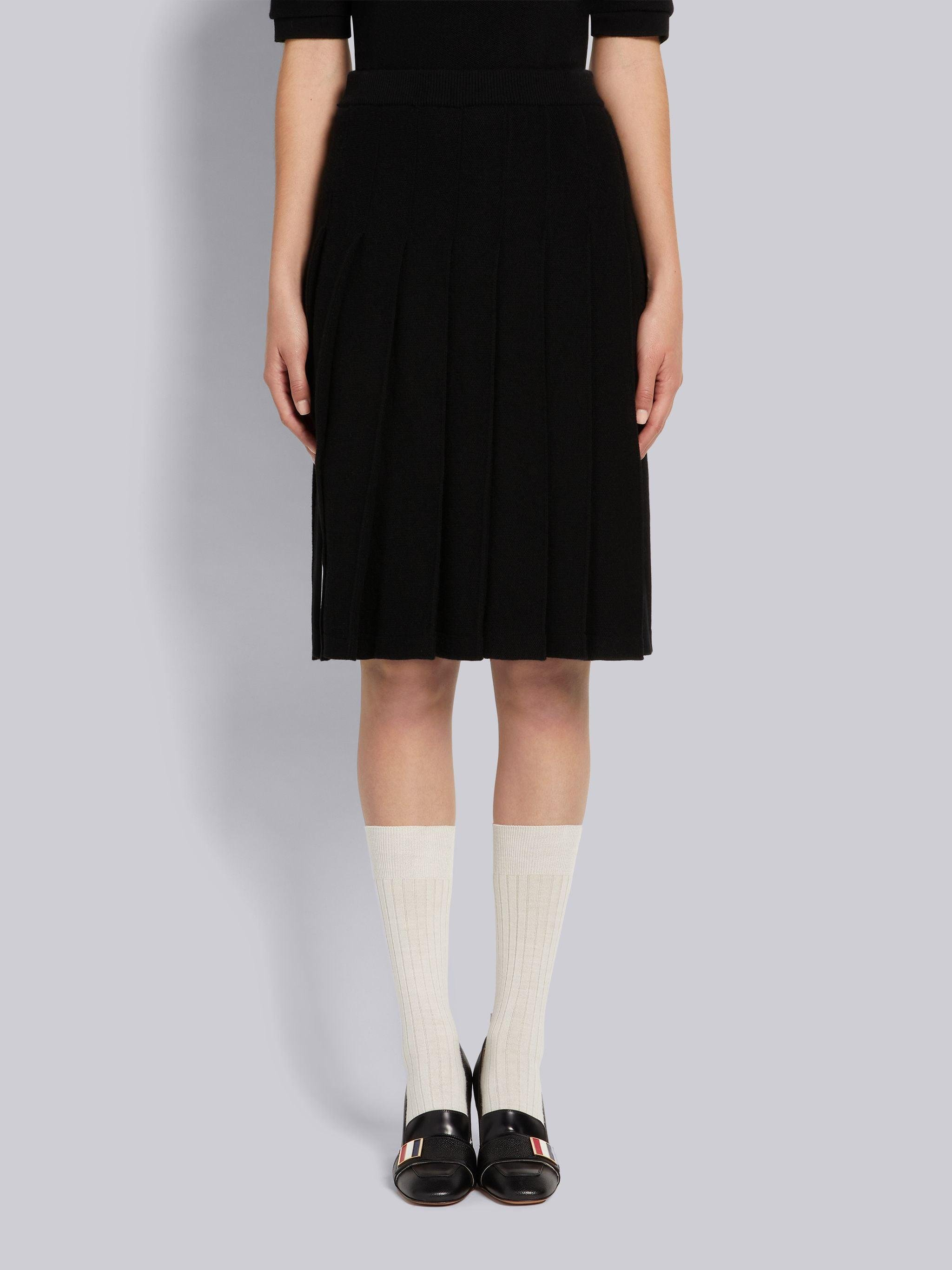 Black Cashmere Pique Below-the-Knee Pleated Skirt