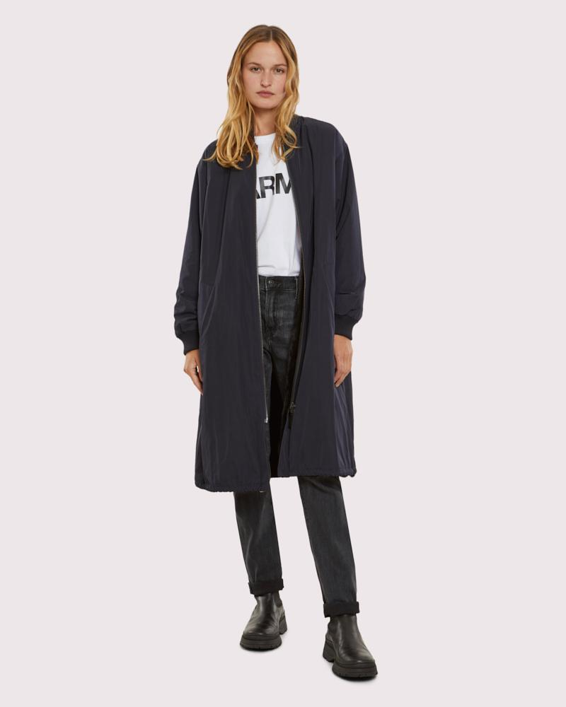 long bomber jacket in reversible mink technical fabric