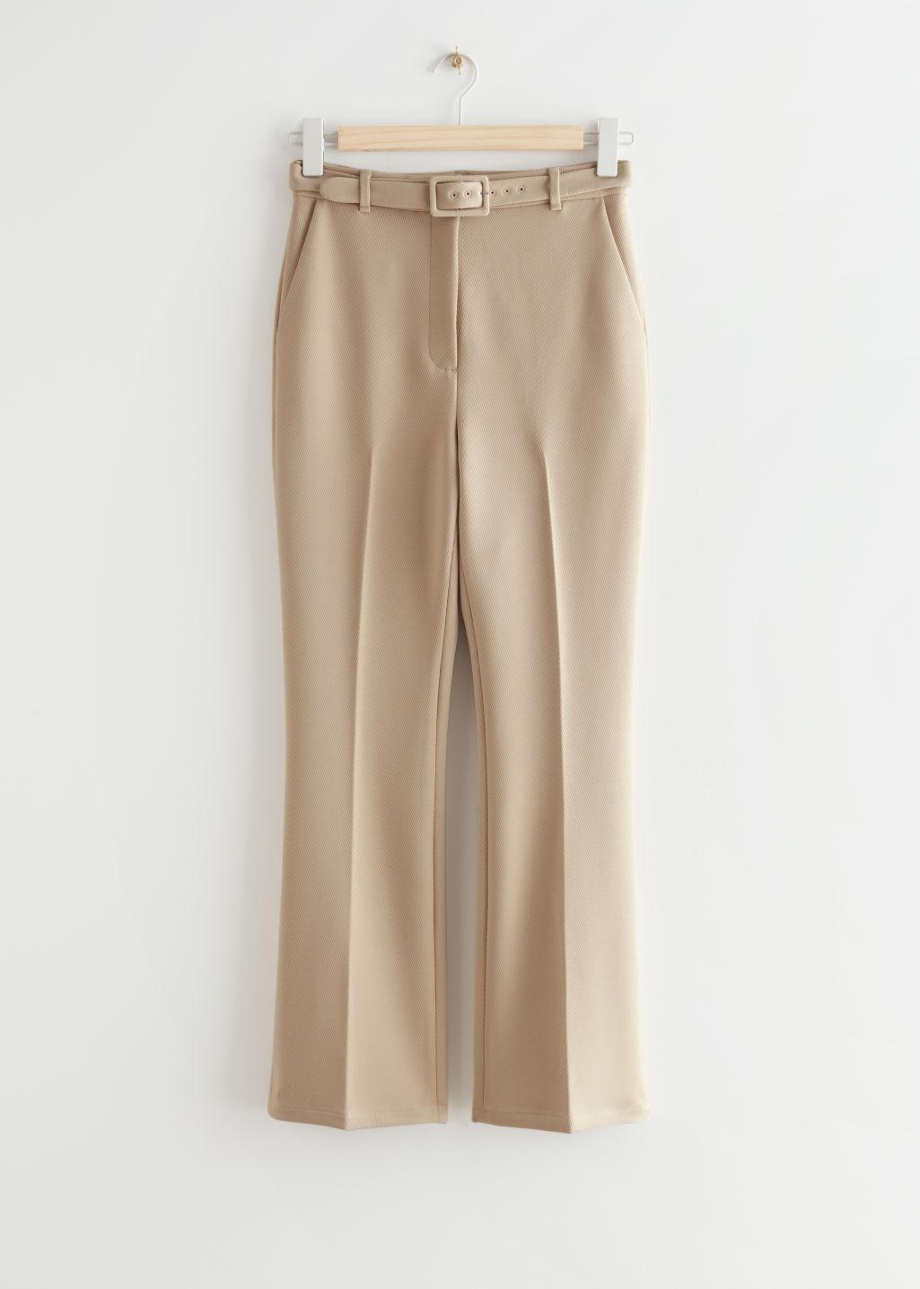 Belted Stretch Kick Flare Trousers