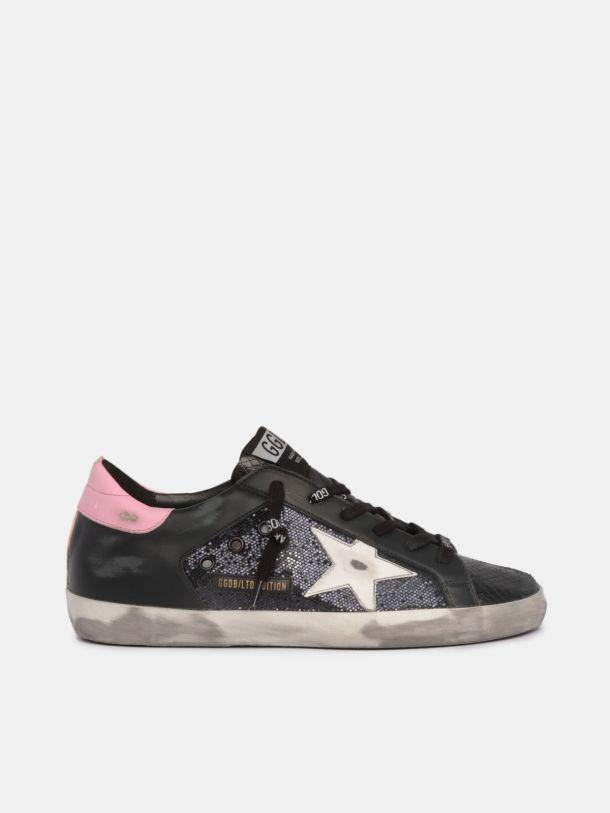 LTD Super-Star sneakers in snake-print leather and glitter with colored inserts