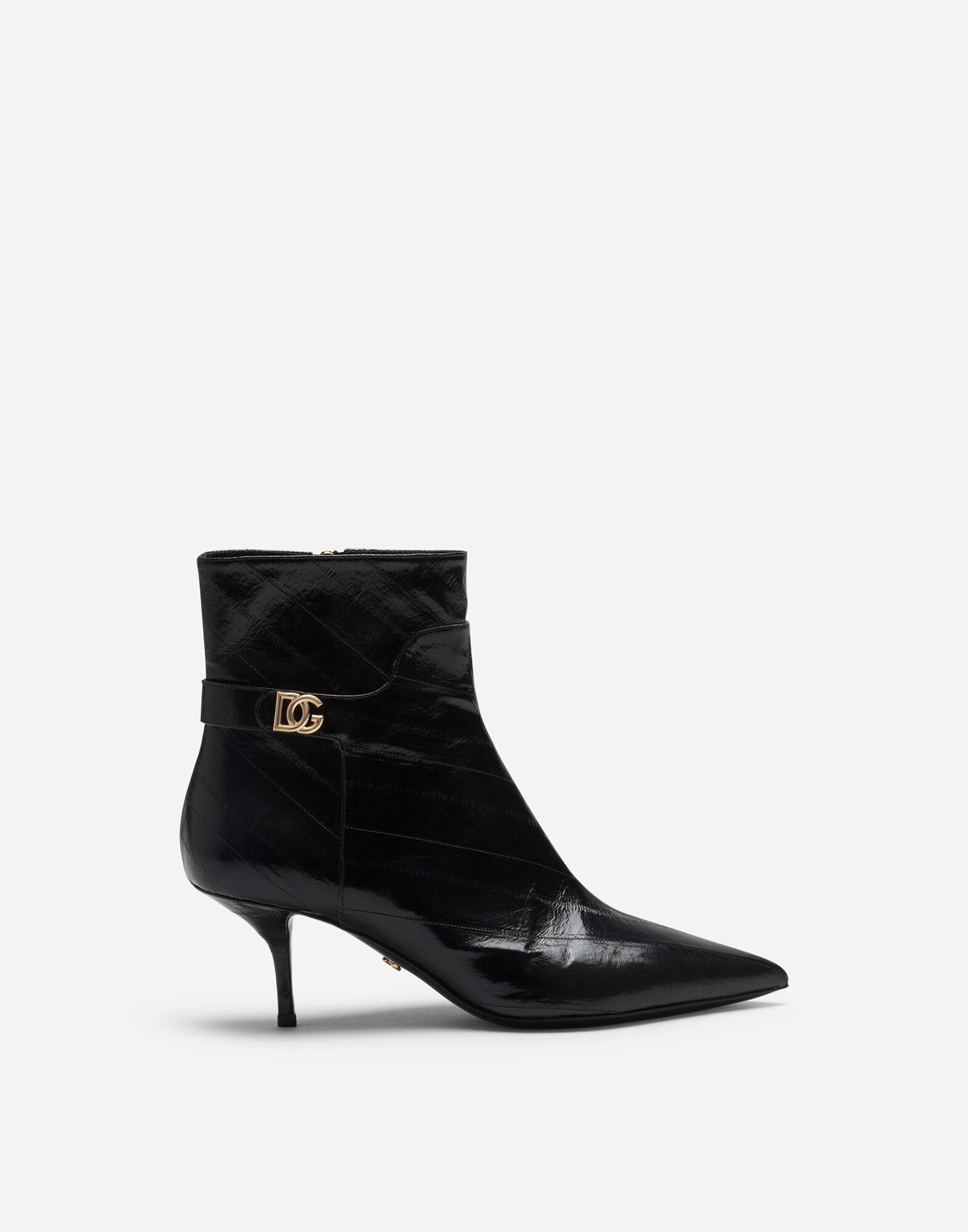 Ankle boots in eel with DG logo